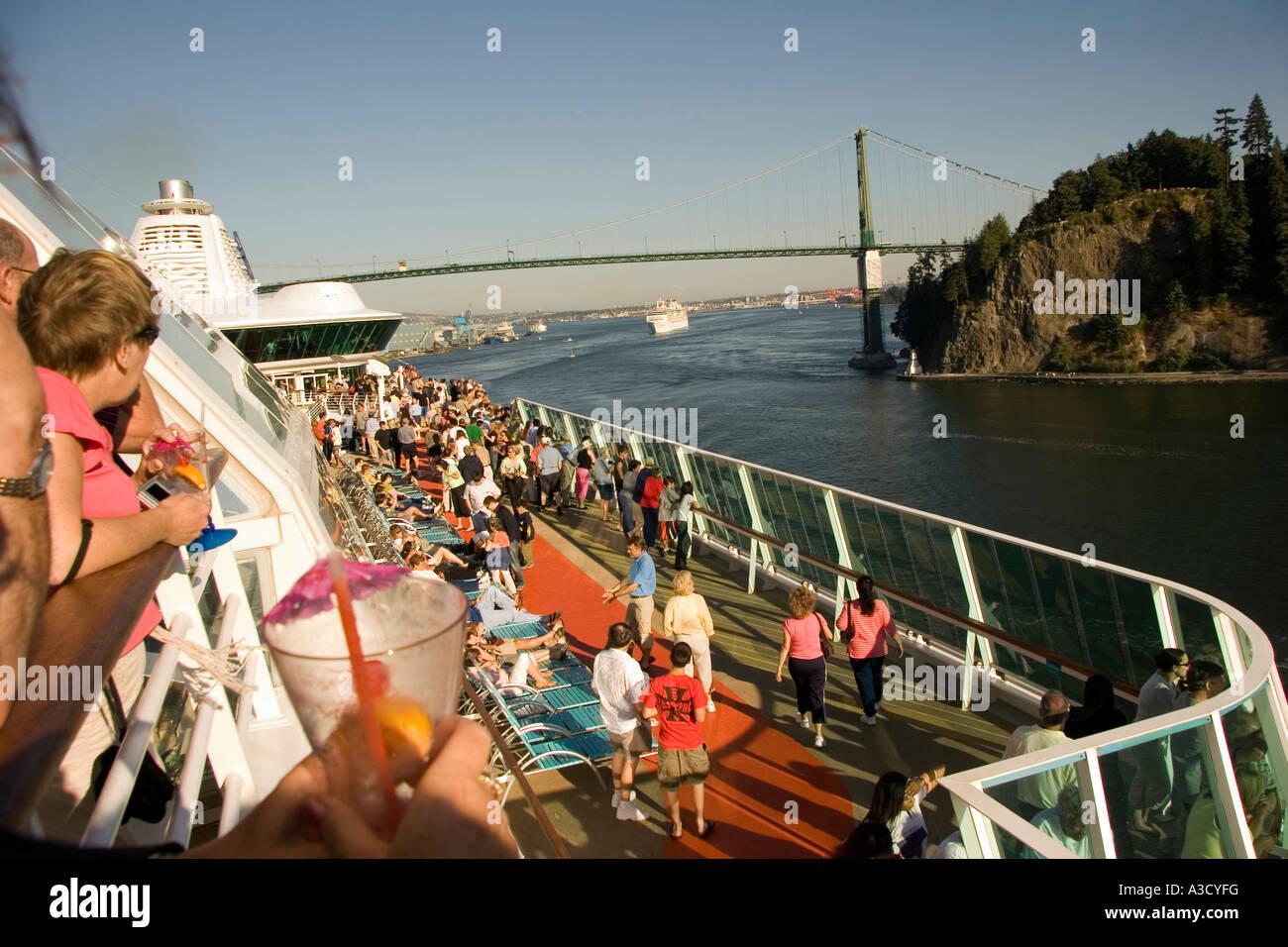 Passenger leaving Vancouver for Alaska Cruise leaving Vancouver B.C. Canada - Stock Image