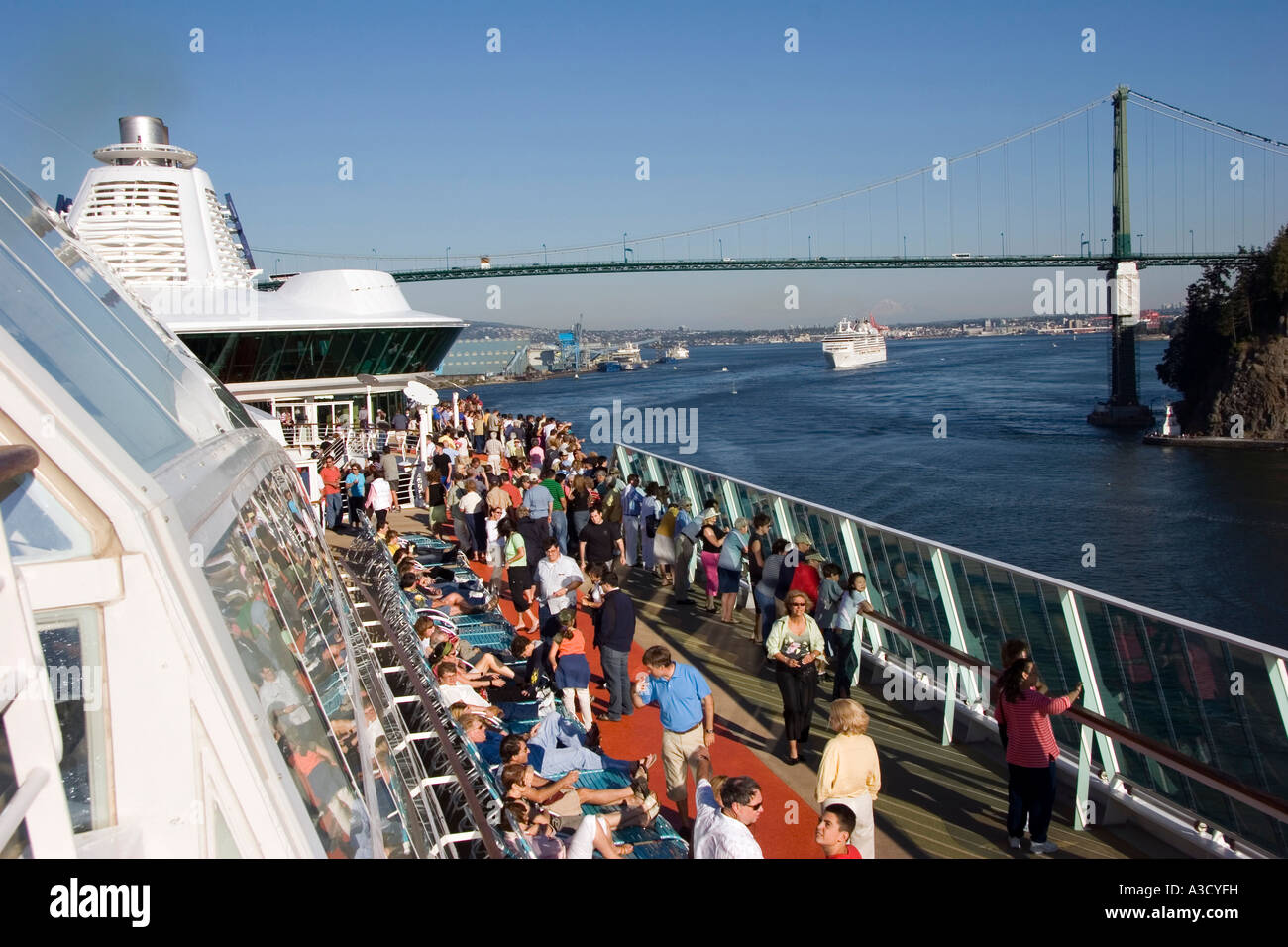 Cruise ship are leaving Vancouver under the Stanley Bridge for Alaska Cruise leaving Vancouver B.C. Canada - Stock Image