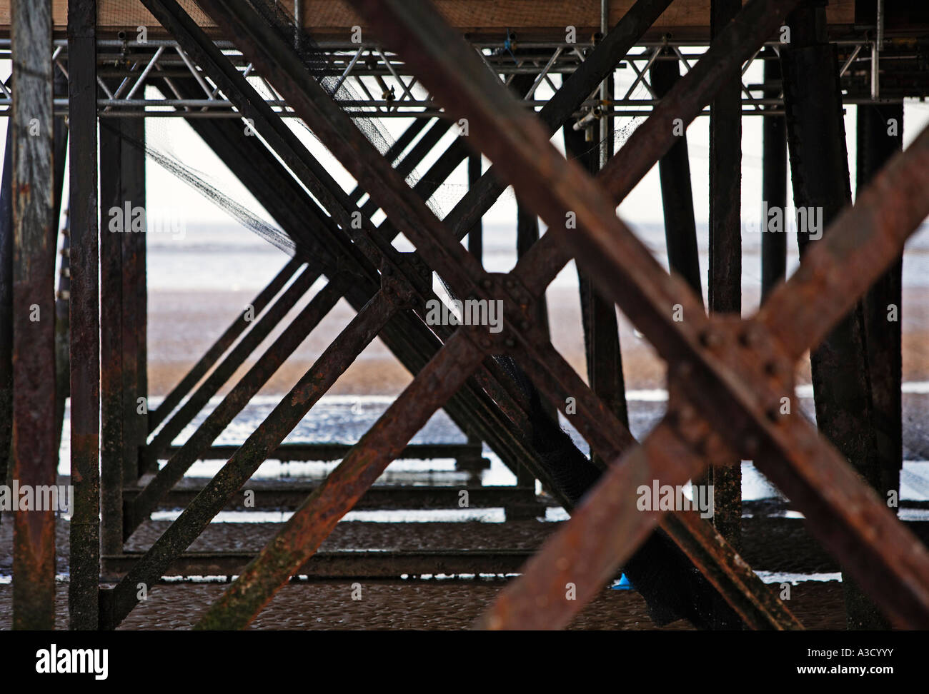Underneath the Pier at Cleethorpes Lincolnshire England UK - Stock Image