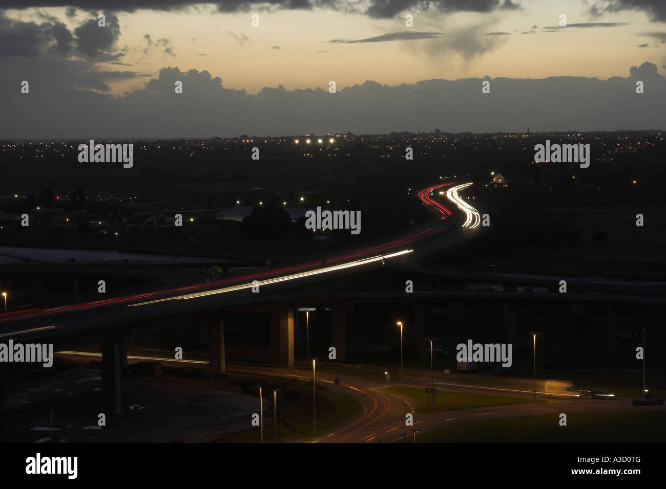 Light trails on the A27 Shoreham flyover / interchange - Shoreham by Sea, West Sussex, UK. Stock Photo