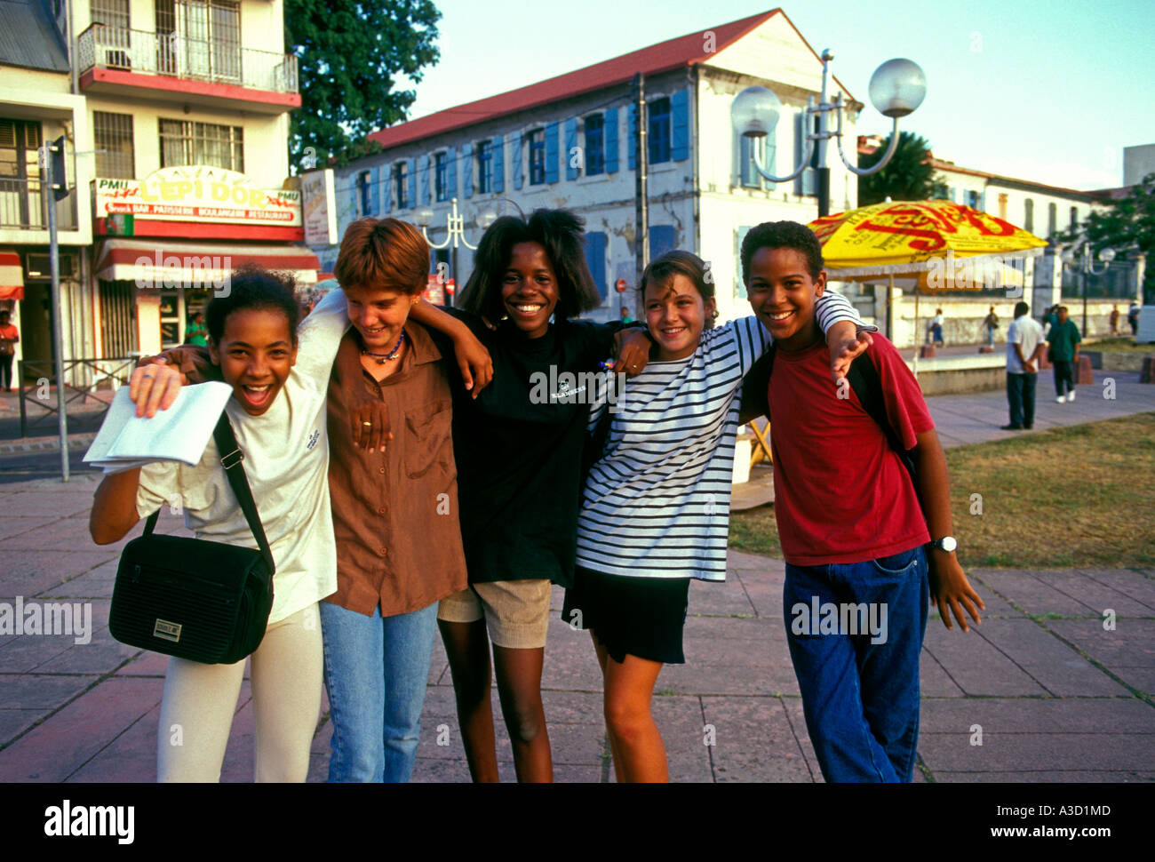 French students, students, teen girls, teen boys, teenagers, Pointe-a-Pitre, Grande-Terre, Guadeloupe, France, French West Indies - Stock Image