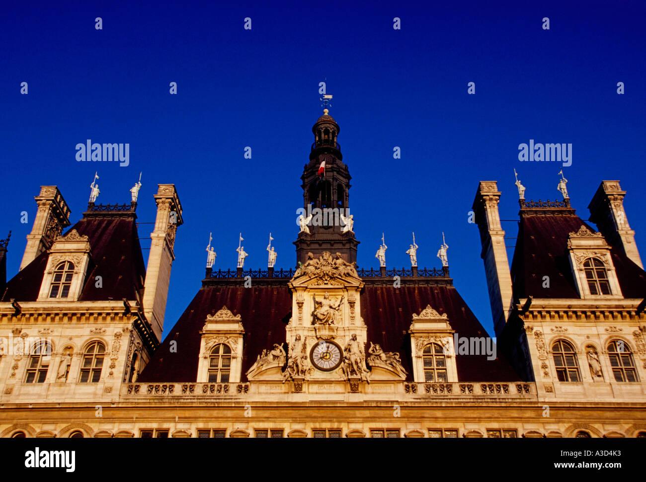 Hotel de Ville, City Hall, neo-Renaissance architecture, neo-Renaissance  architectural style, city of Paris, Ile-de-France, France, Europe - Stock Image