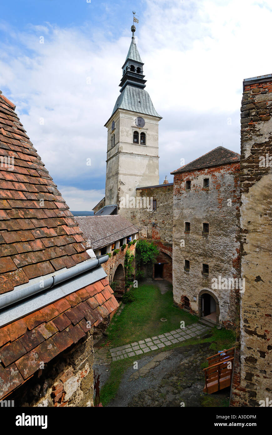 Guessing castle Burgenland Austria inner court with donjon - Stock Image