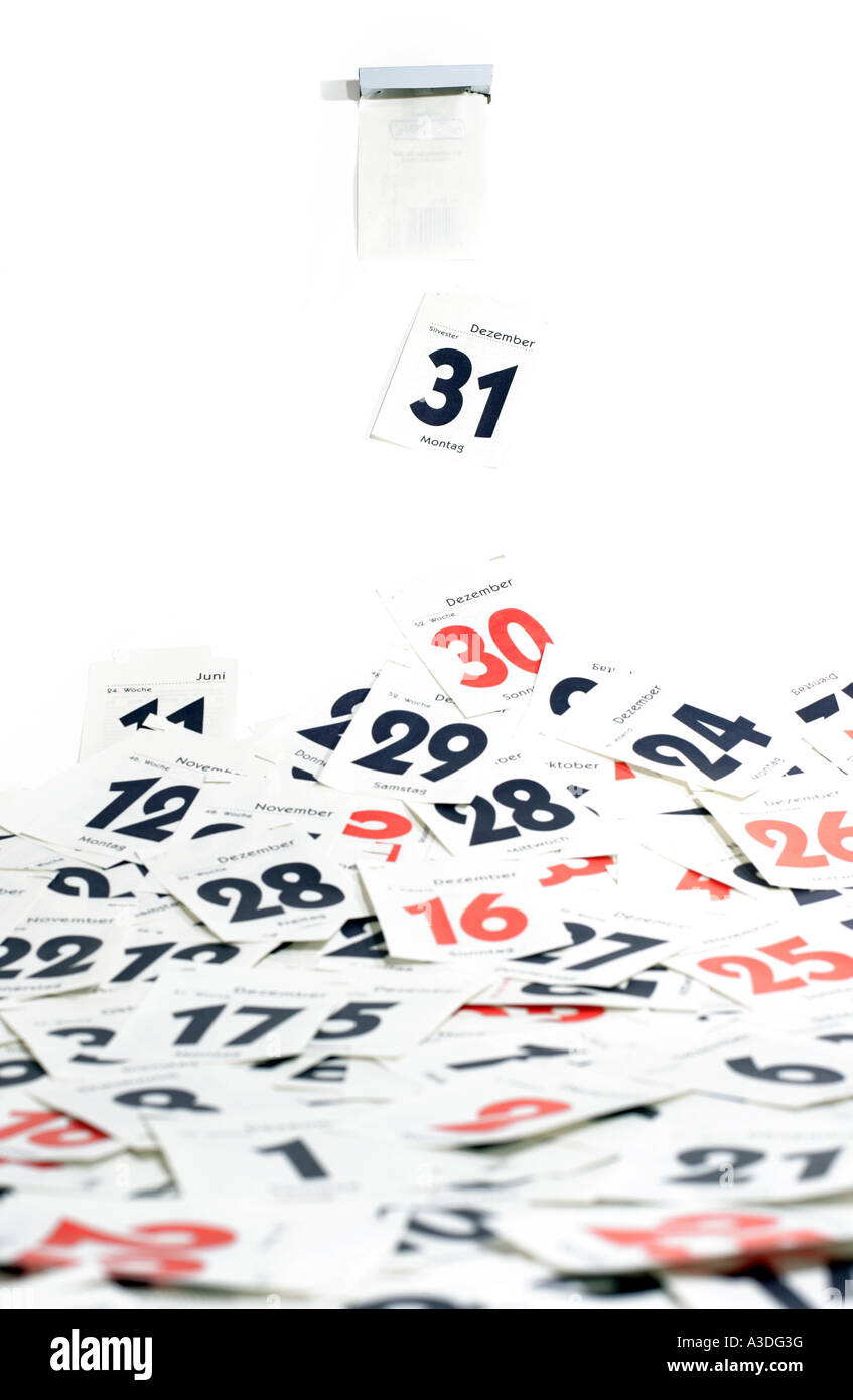 Last day of the year (31st of December) has end - tear-off calendar - Stock Image