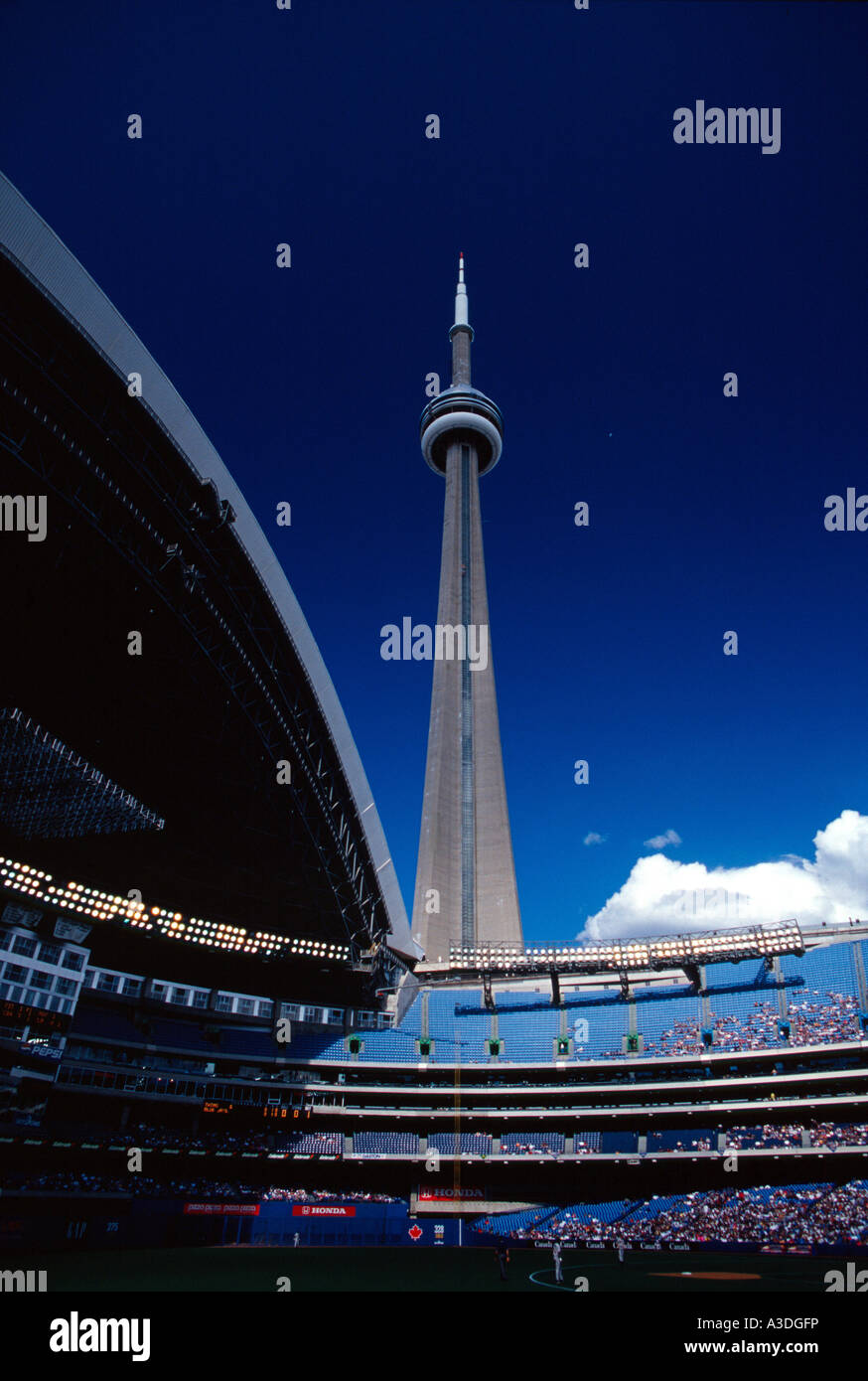 Cn Tower Seen From Inside Of The Skydome Baseball Stadium Toronto