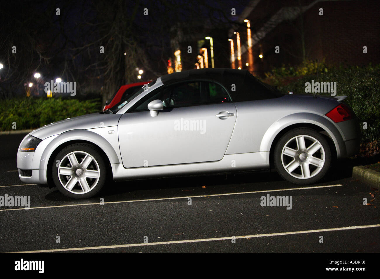 audi, tt, convertible roadster softtop silver, front, 3, 4, silver, 2003, model night dusk Stock Photo