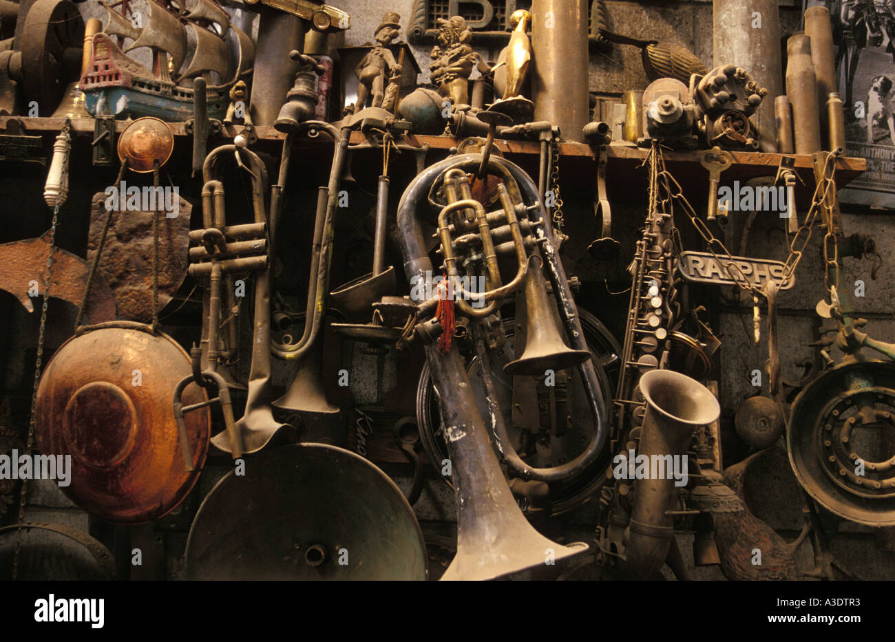 Old Brass Musical Instruments And Copper Objects Hanging