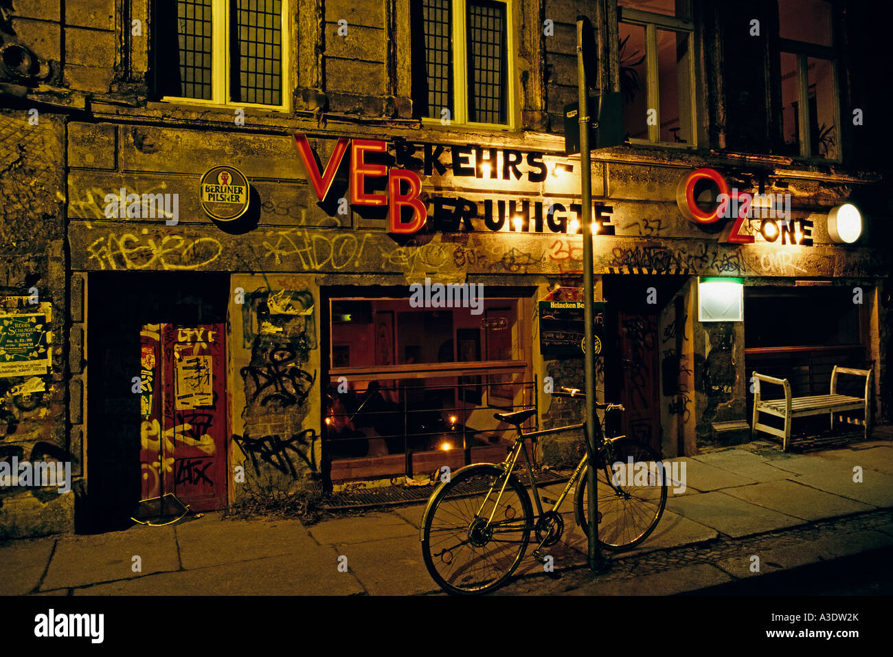 Former east german bar in a dilapidated house in Oranienburger Strass, Berlin, Germany - Stock Image