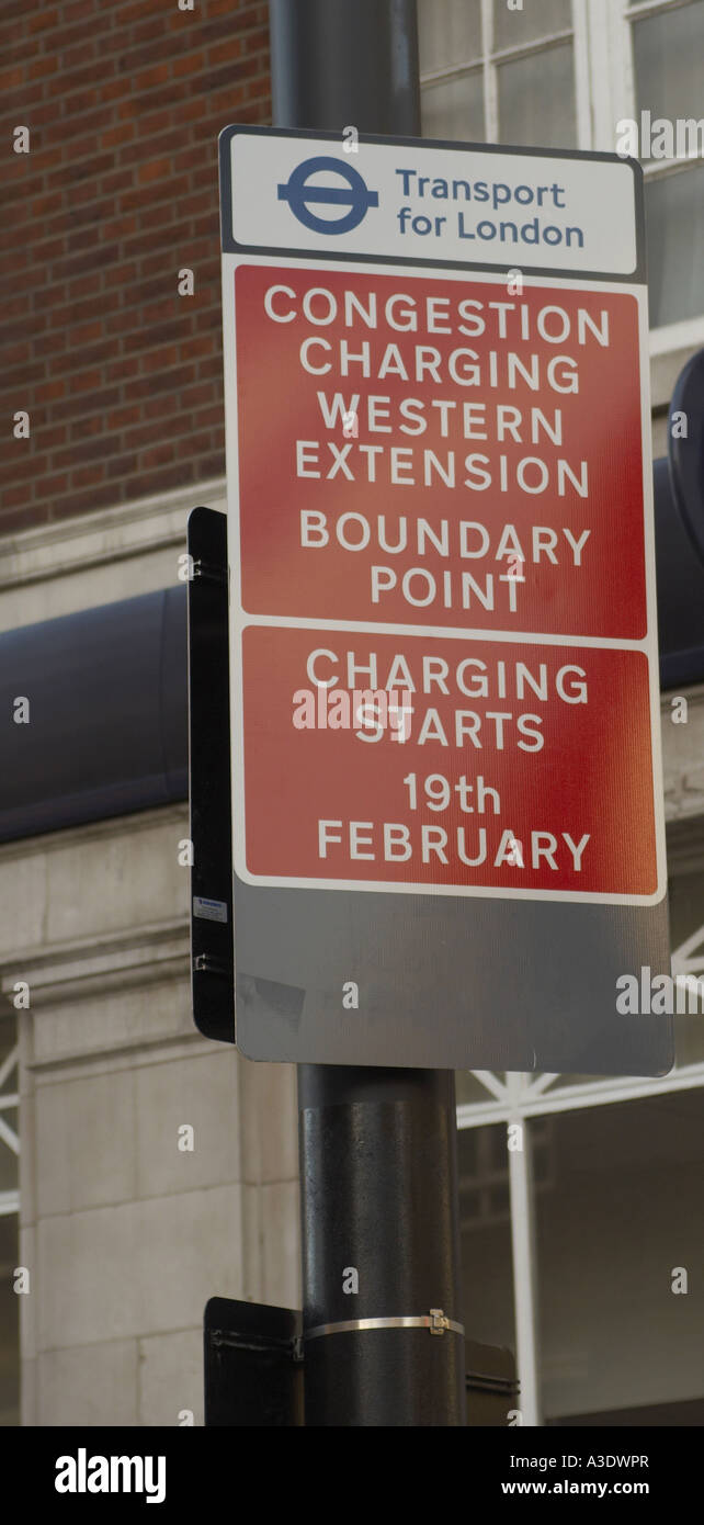 Road sign at entrance of congestion charge zone London - Stock Image