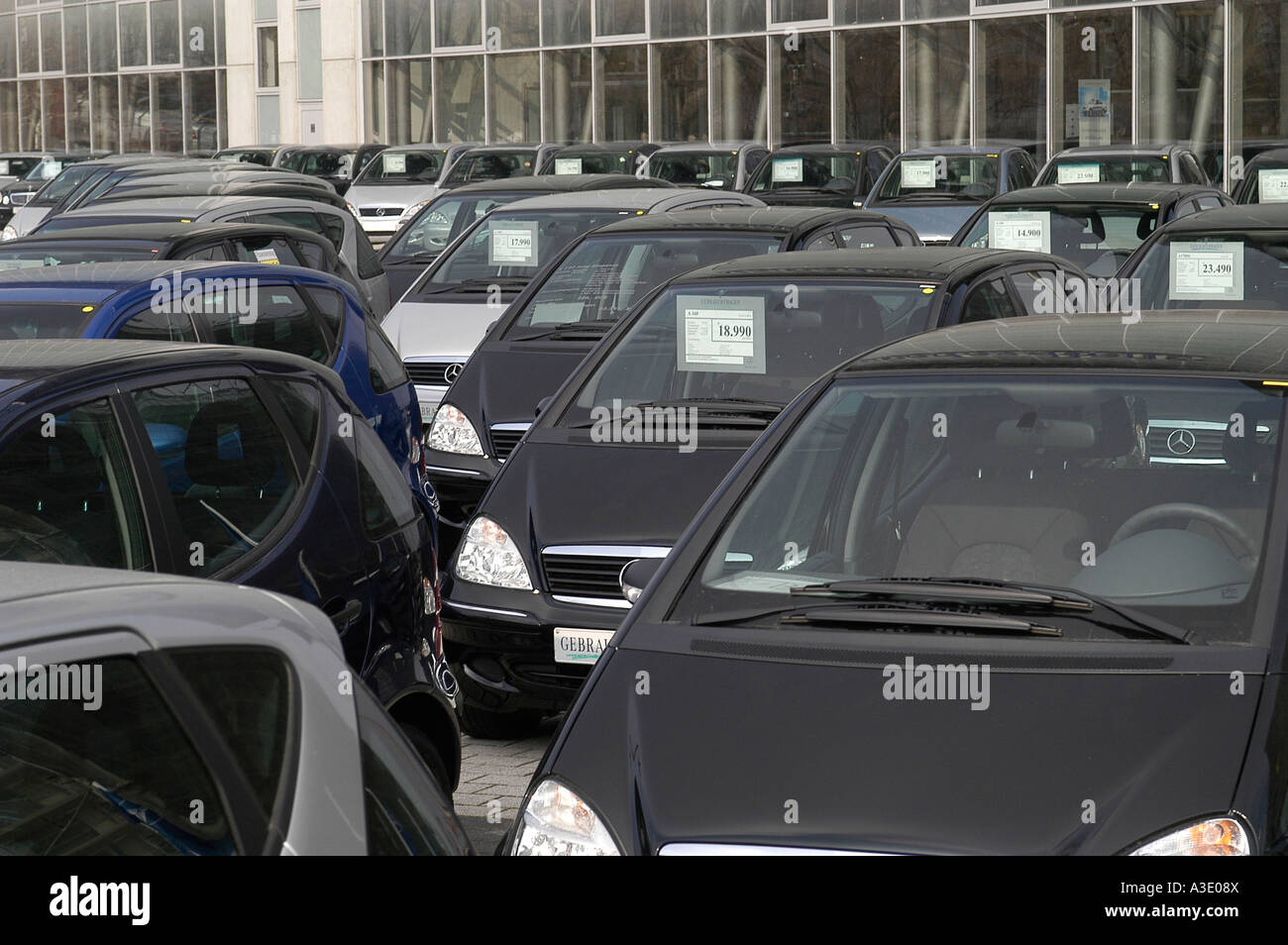Mercedes car sale in front of the office building of Mercedes Benz, Berlin, Germany Stock Photo