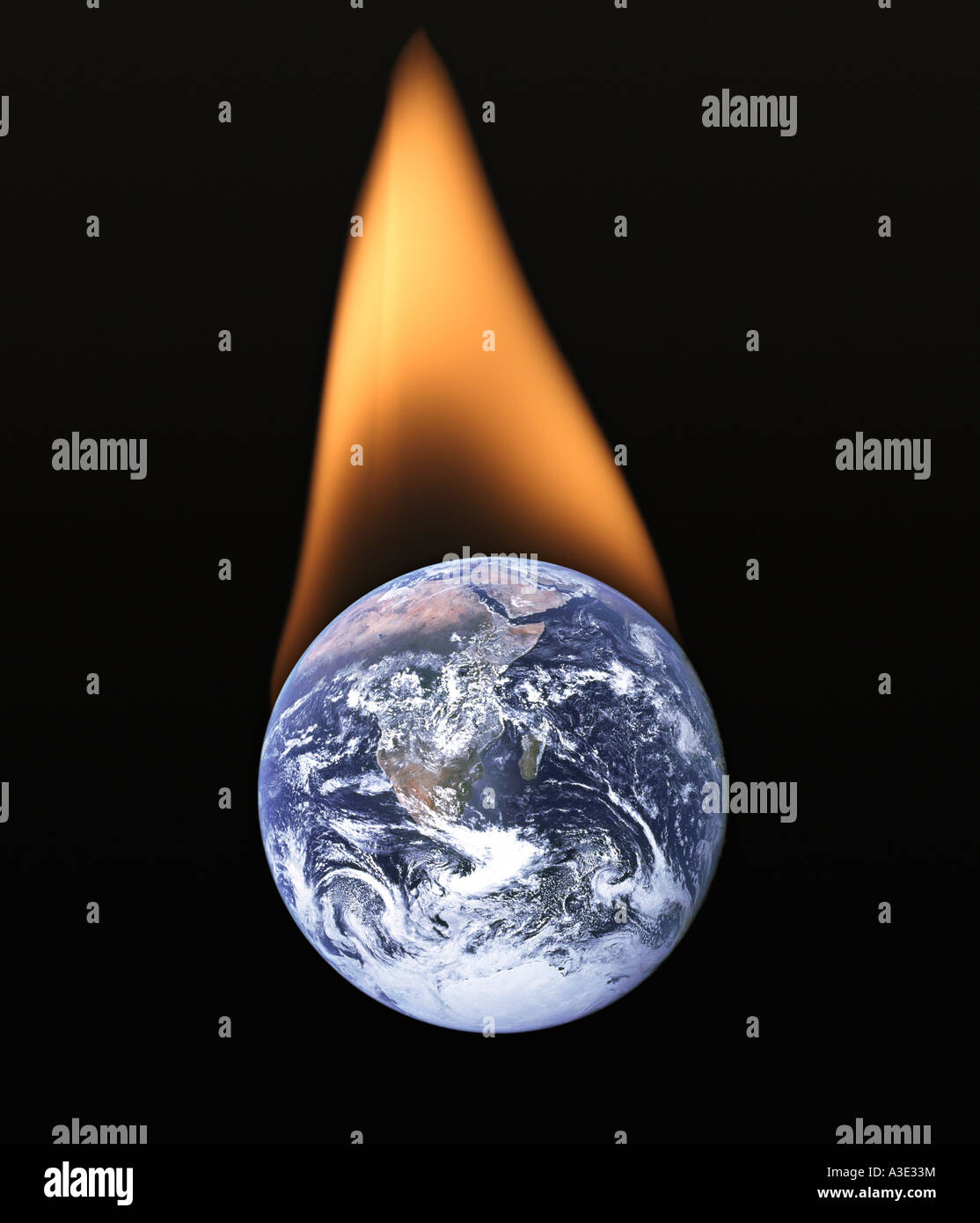 Flaming Planet Earth - Stock Image