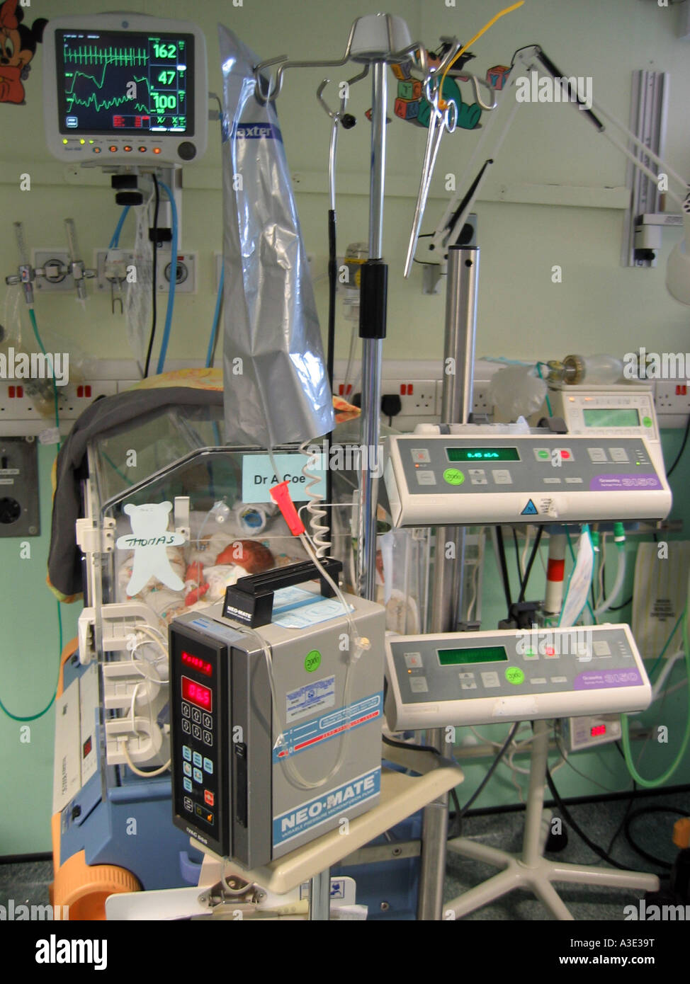 intensive care equipment and incubator in a neonatal unit with a