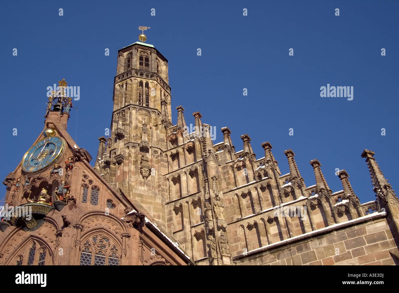 Detail view of St.Mary´s Church at the main/central-market Nuremberg, Bavaria, Germany - Stock Image