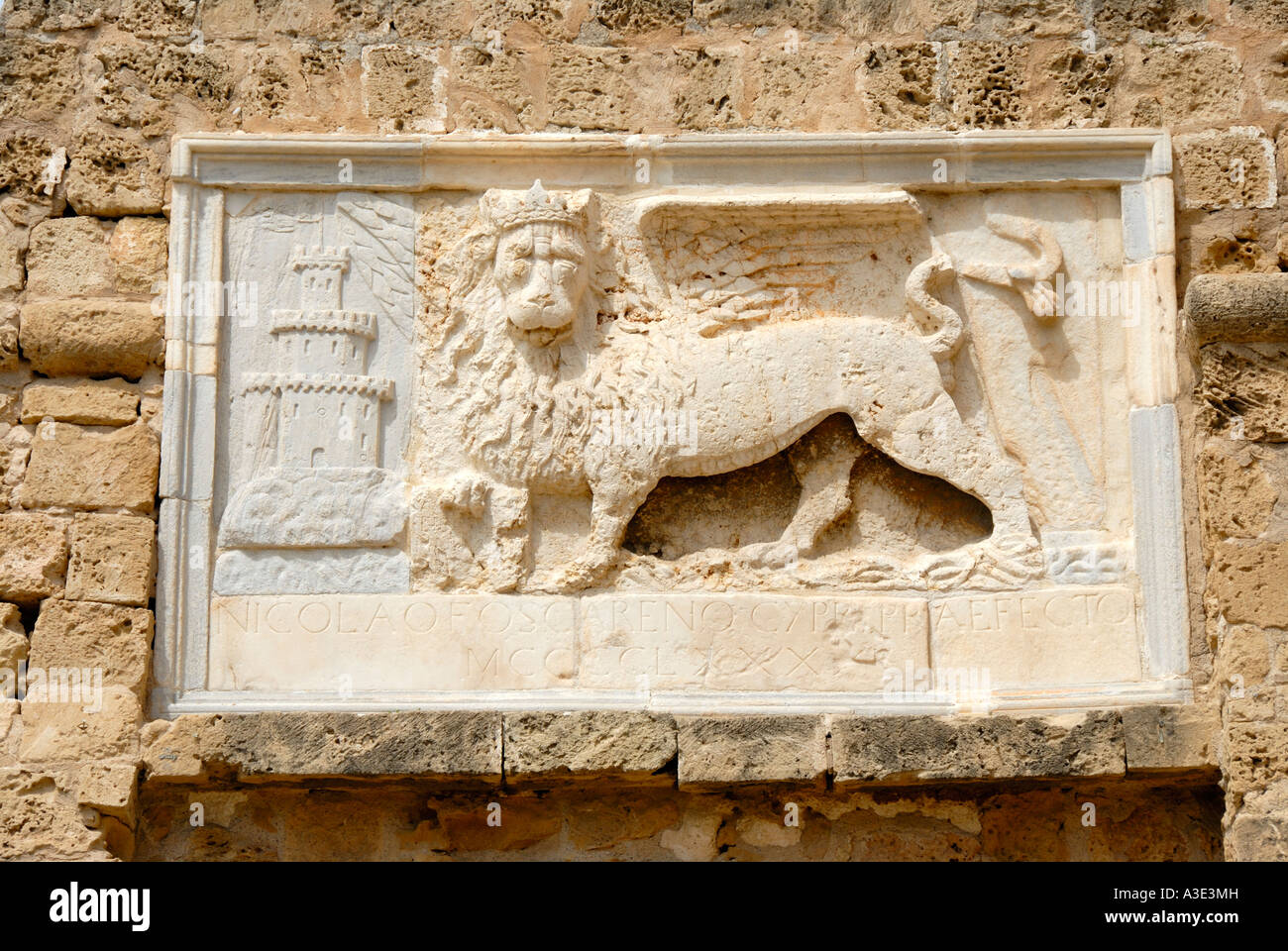 Stone relief Venetian Lion of Markus St Mark at the Othello Tower Famagusta Gazimagusa North Cyprus - Stock Image