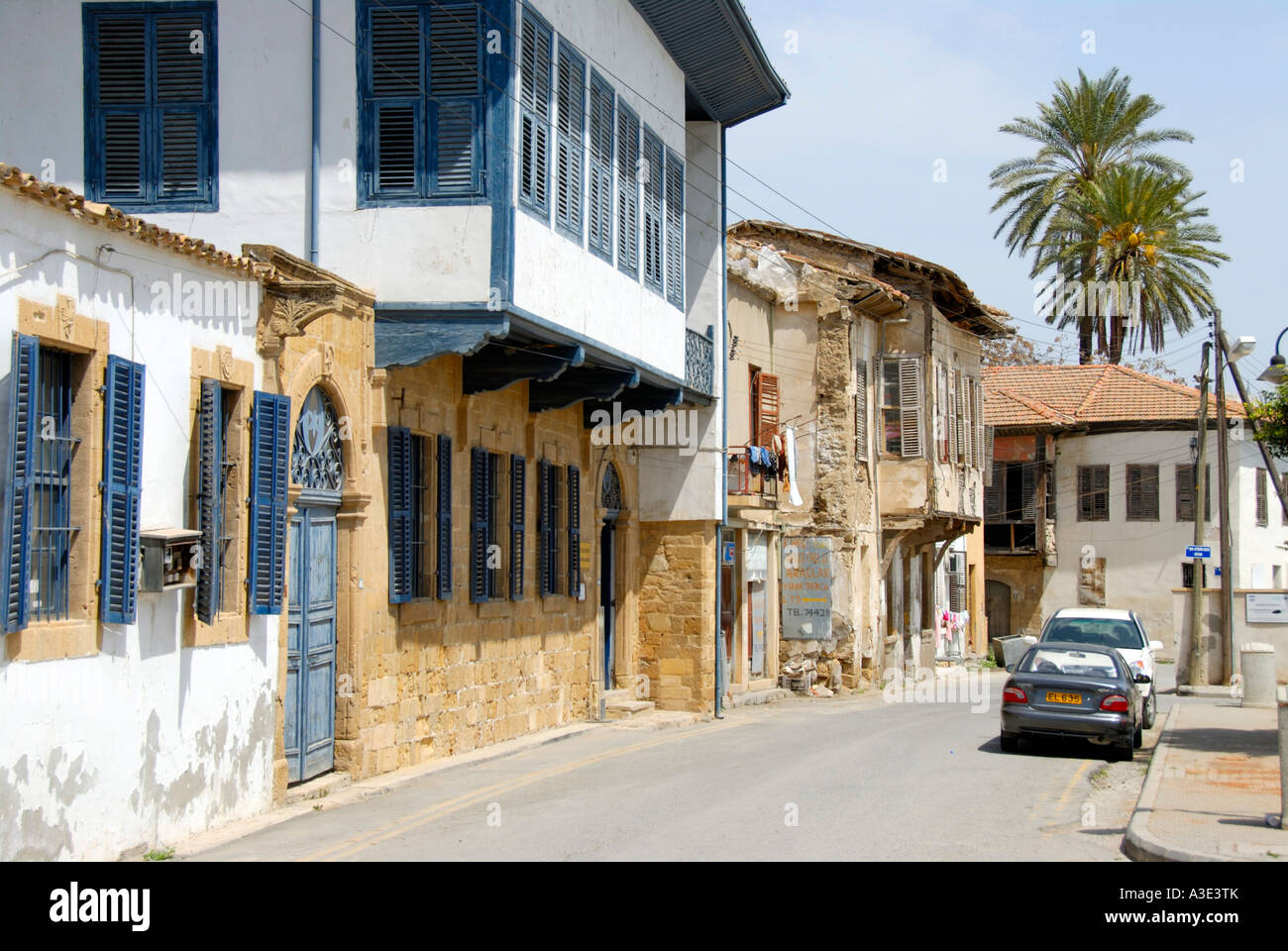 Old Turkish architecture with bays at the Dervish Pasha Houses in the streets of old town Lefkosa Nicosia North - Stock Image