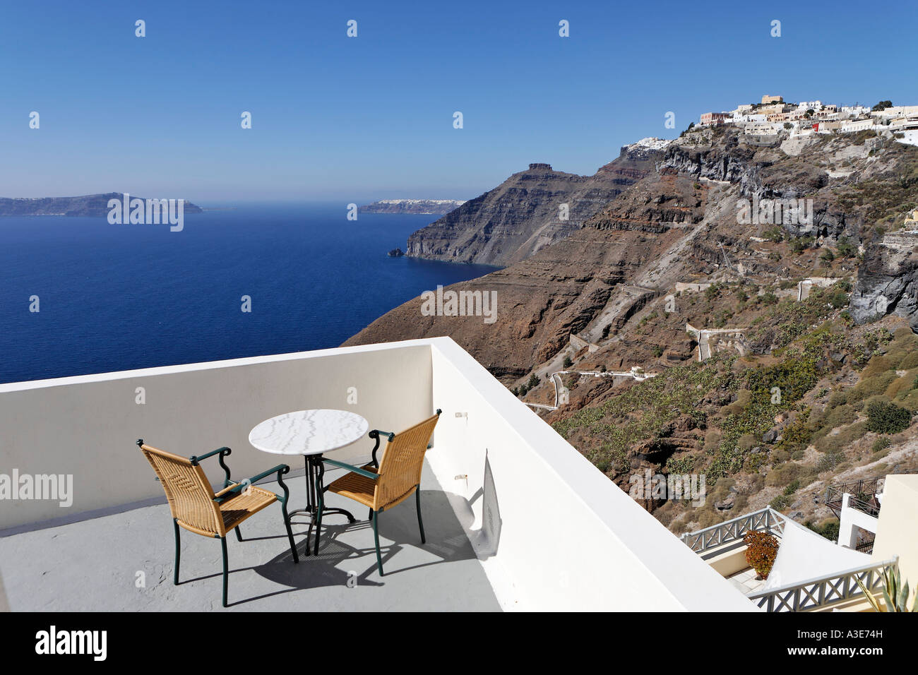 A nice place for breakfast with a fantastic view, Thira, Santorini, Greece - Stock Image