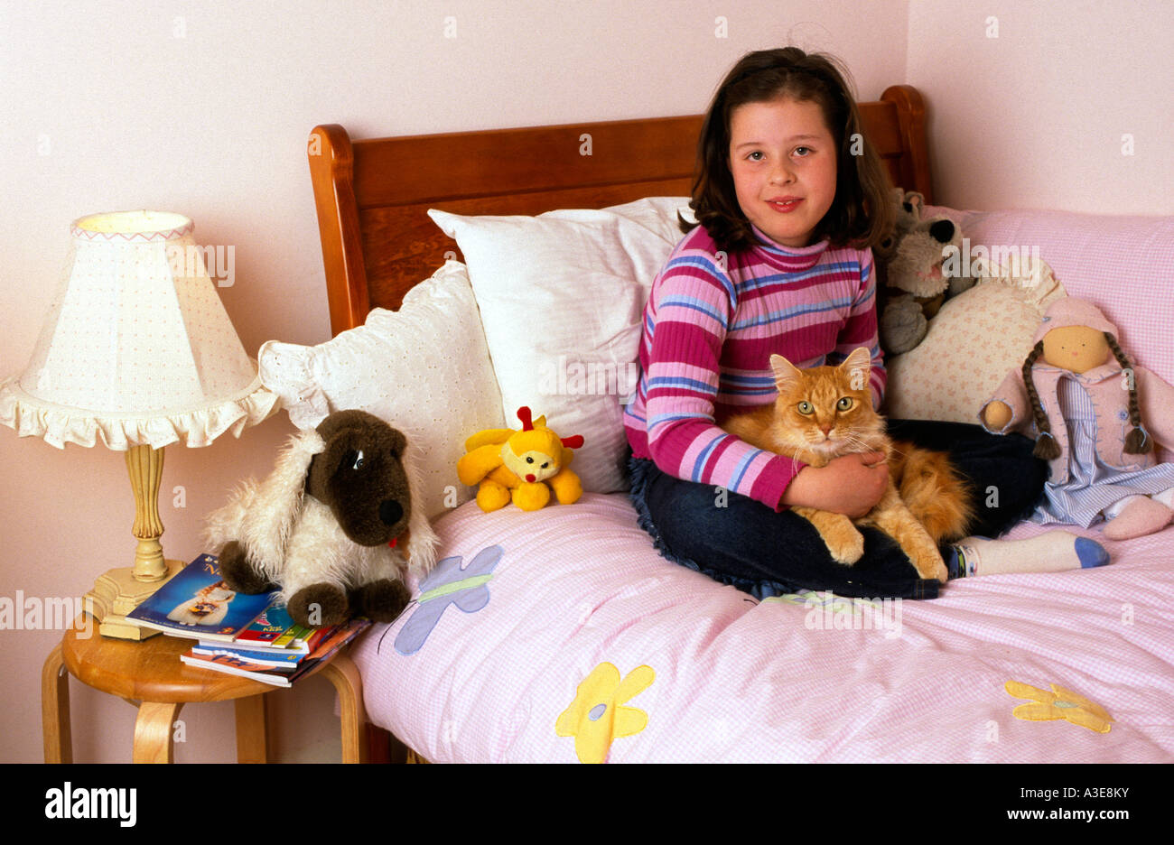 7 year old girl with her pet cat Melbourne Victoria Australia Horizontal  Stock Photo