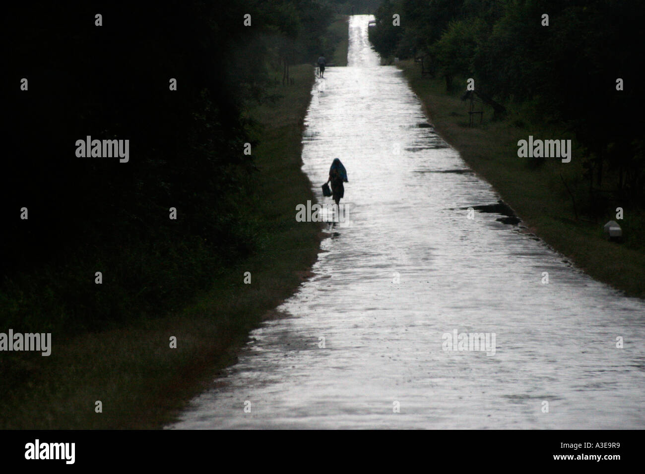 Sri Lanka, country road stretching into distance after rain, woman walking silhouetted against wet surface Stock Photo