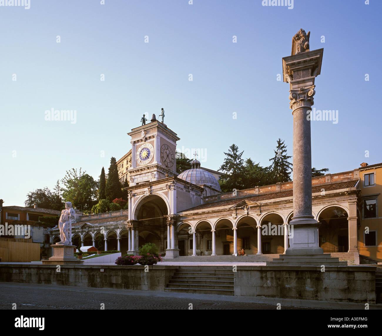 Loggia di San Giovanni, clock tower, Piazza Liberta, Udine, Friuli-Venezia Giulia, Italy Stock Photo