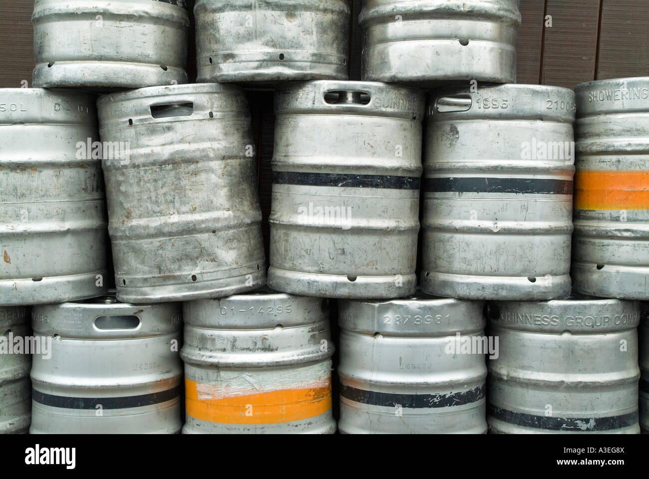 Empty Beer Barrels in front of an irish pub , Irland - Stock Image