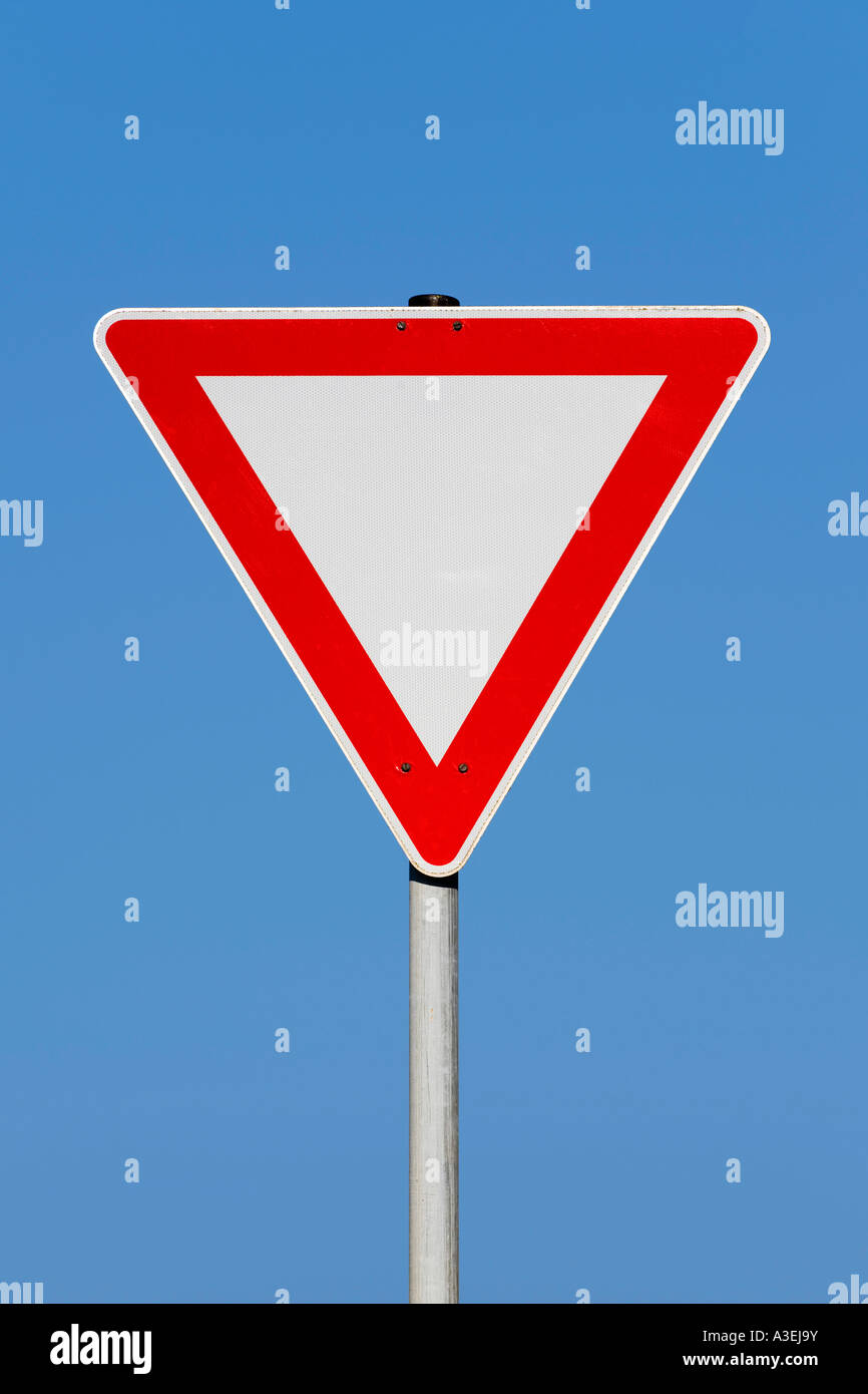 To observe the right of way - traffic sign - Stock Image