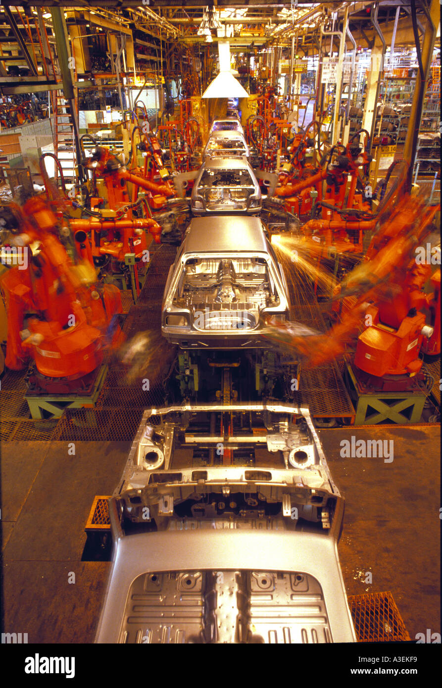 Production line of car factory assembling line with robot south Korea  - Stock Image