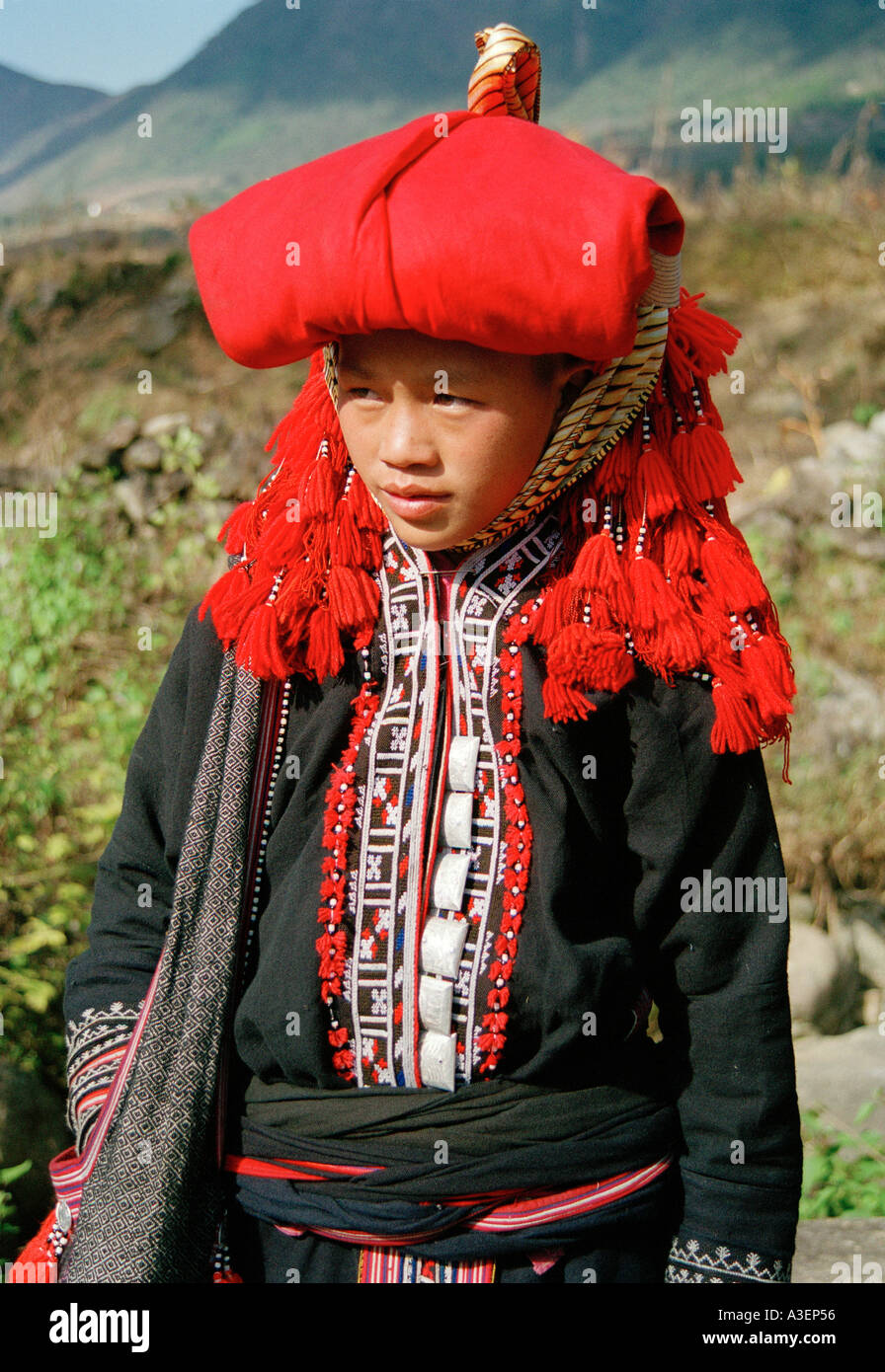 A Red Hmong woman from Sa Pa in Vietnam - Stock Image