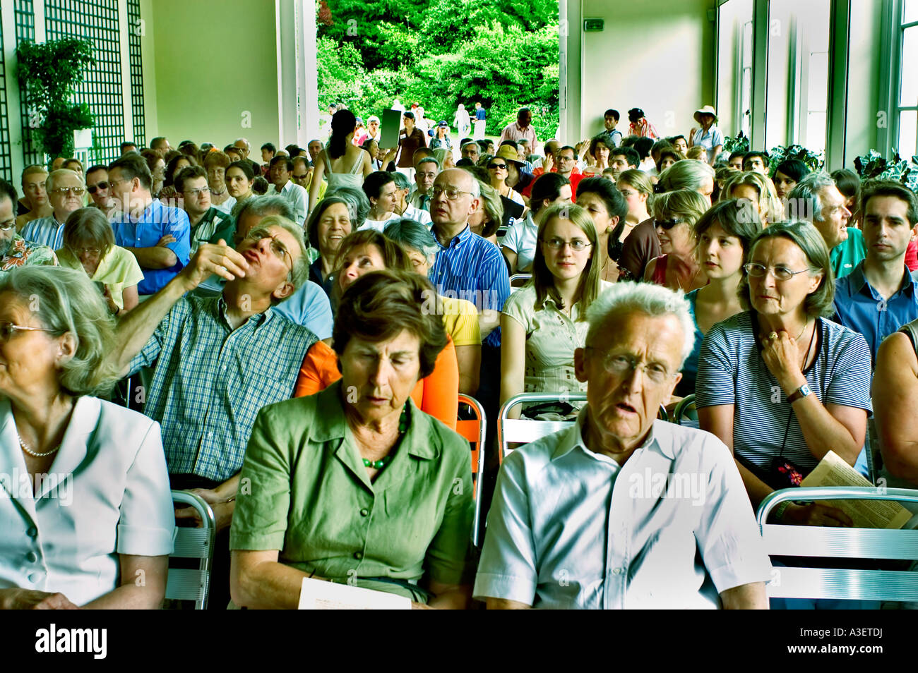 View from Stage, Paris France Mixed Audience in Classic Music Concert in 'Bagatelle Gardens' - Stock Image