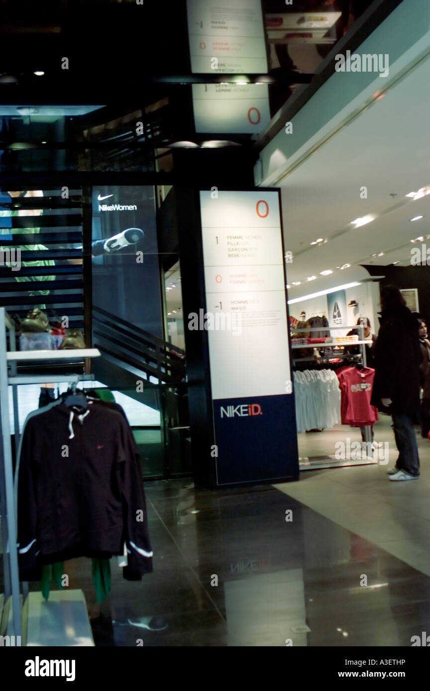 huge selection of 0b0de 31b74 Paris France, Shopping Nike Paris Clothing Store Inside Boutique sporting  clothes - Stock