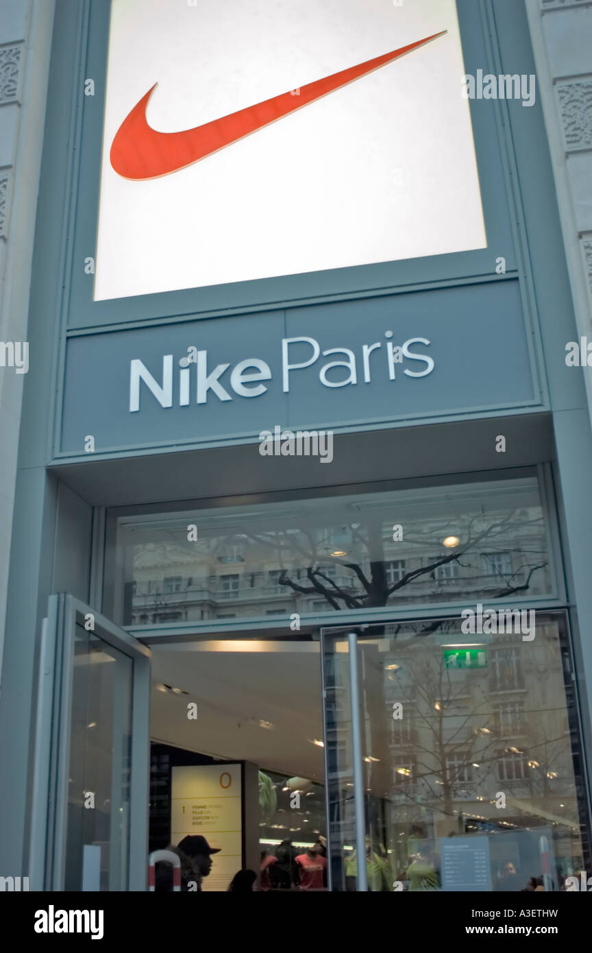 info for 9ced6 a301a Paris France, Shopping, Nike Paris, Clothing Store, Front Detail ,  Corporate Logo Sign on Entrance open door
