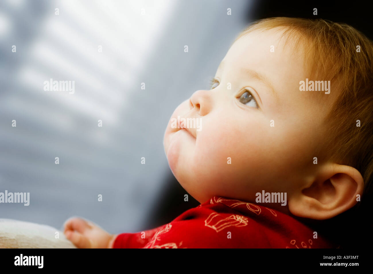 Child looking out window - Stock Image