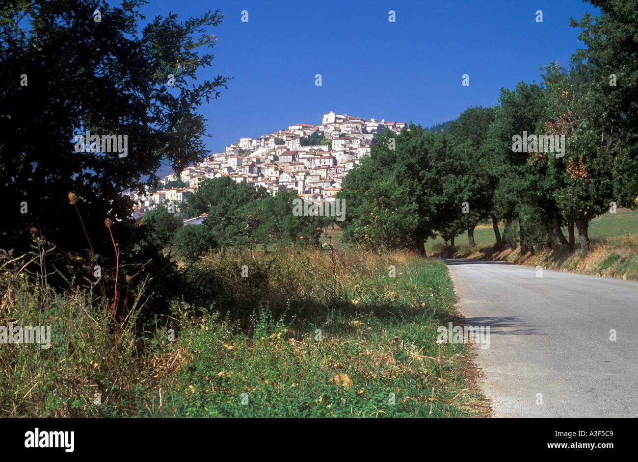 Hill top town of Padula in Basilicata Italy Stock Photo