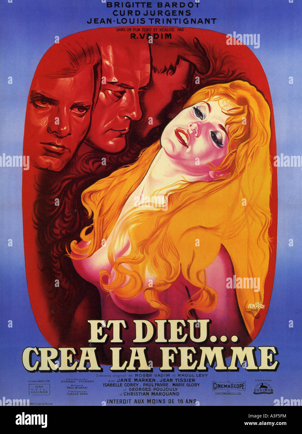 AND GOD CREATED WOMAN (ET DIEU CREA LA FEMME) poster for 1957 Iena-Houdu film with Brigitte Bardot - Stock Image