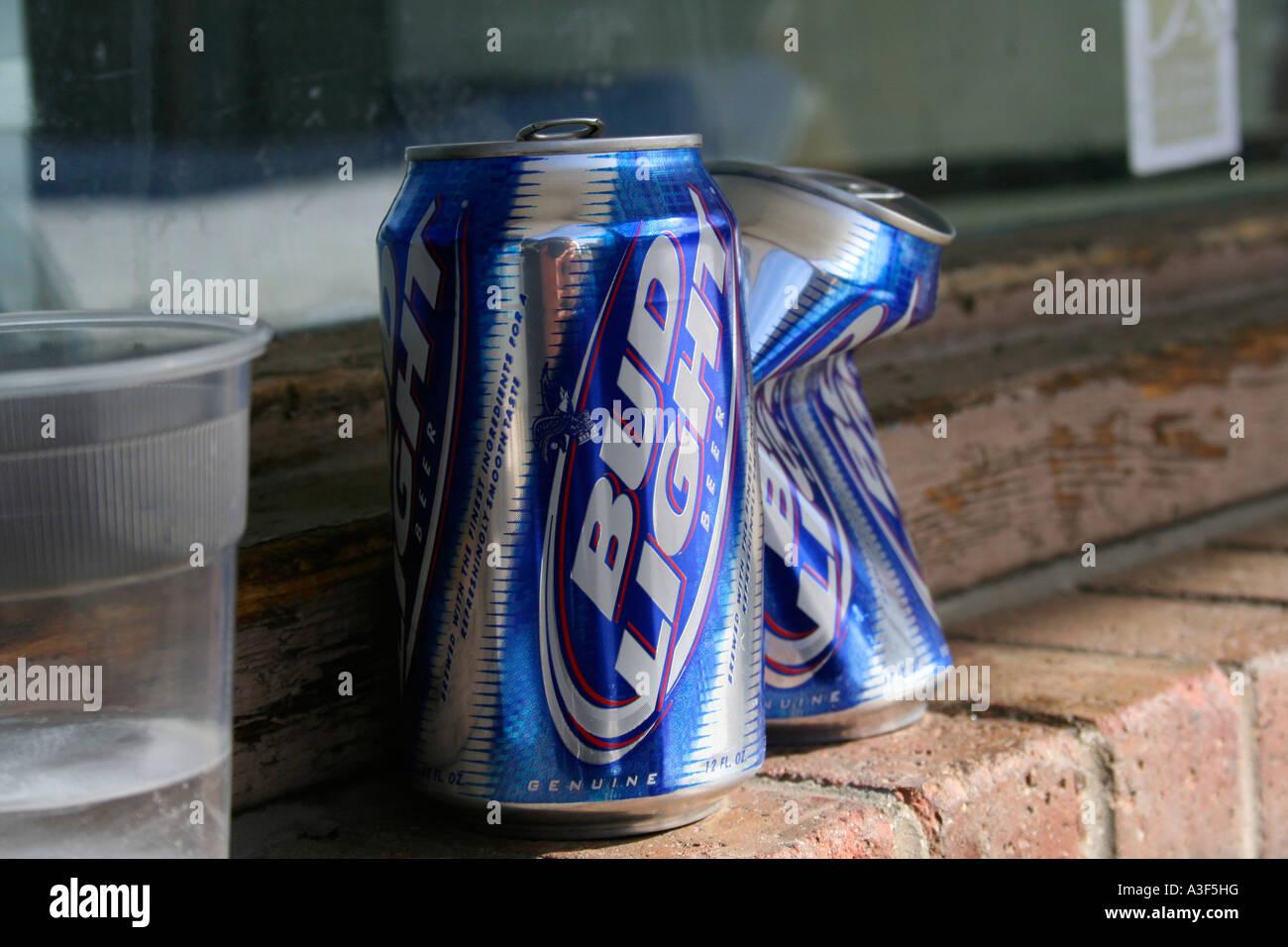 Empty Bud Light Cans On Window Ledge   Stock Image