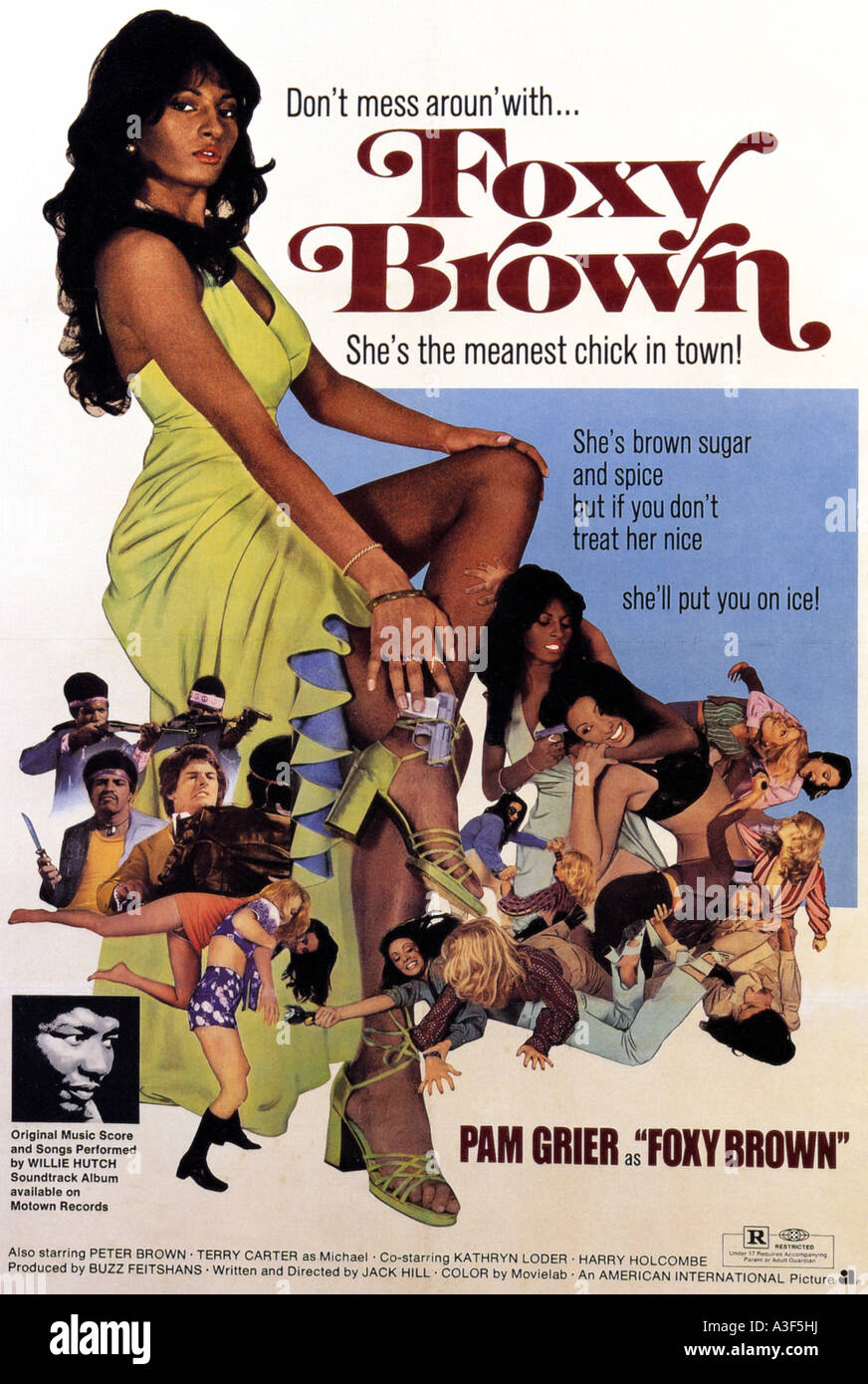 FOXY BROWN poster for 1974 AIP film with Pam Grier - Stock Image