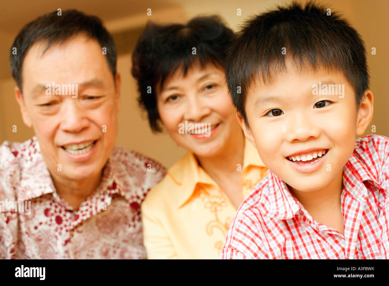 Portrait of a boy with his grandparents - Stock Image