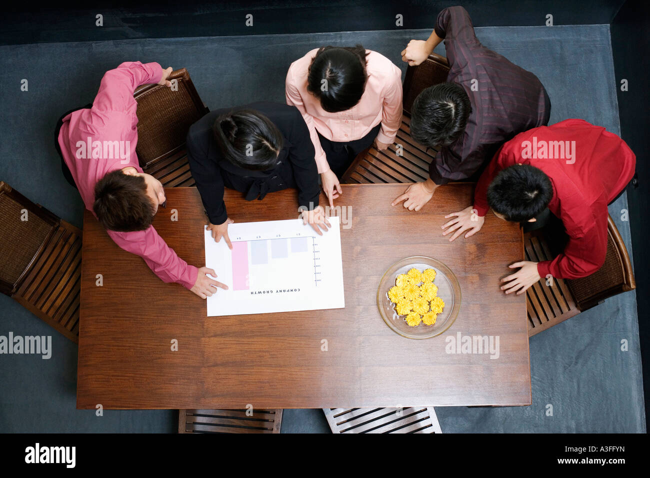 High angle view of two businesswomen and three businessmen discussing a bar graph - Stock Image