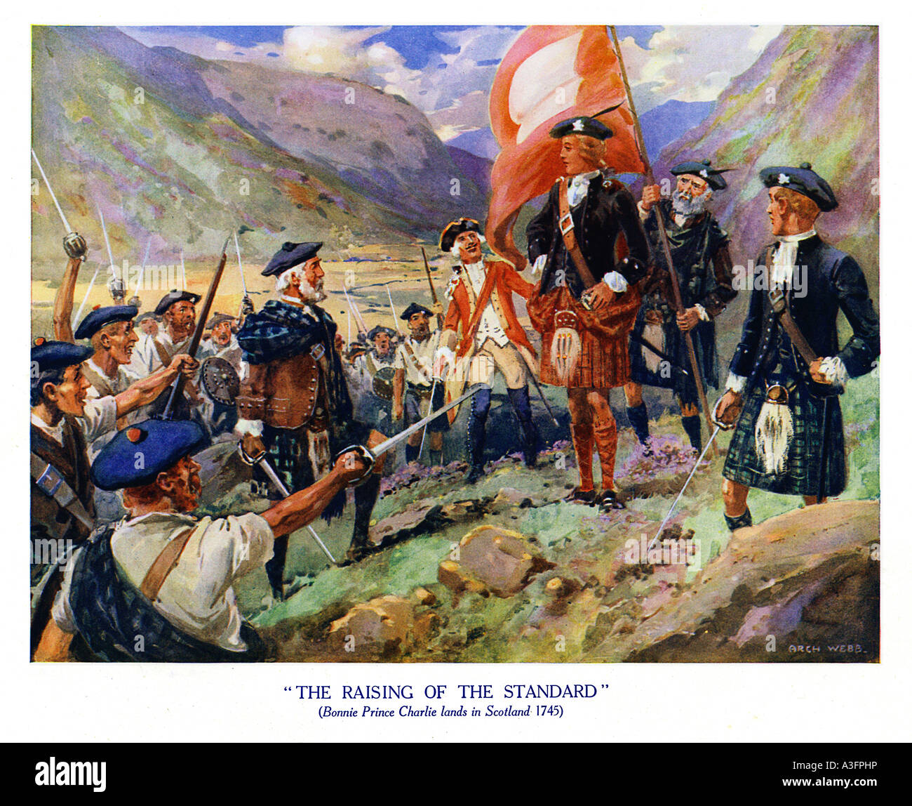 Raising The Standard 1745 1930s illustration of Bonnie Prince Charlie Young Pretender at the start of the 1745 rebellion - Stock Image