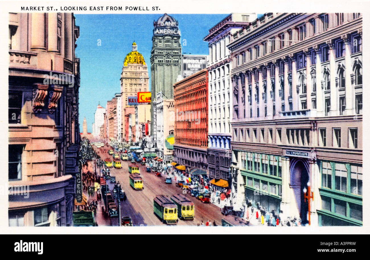 Market Street San Francisco Looking East from Powell Street in this 1930s picture postcard of the Californian city - Stock Image