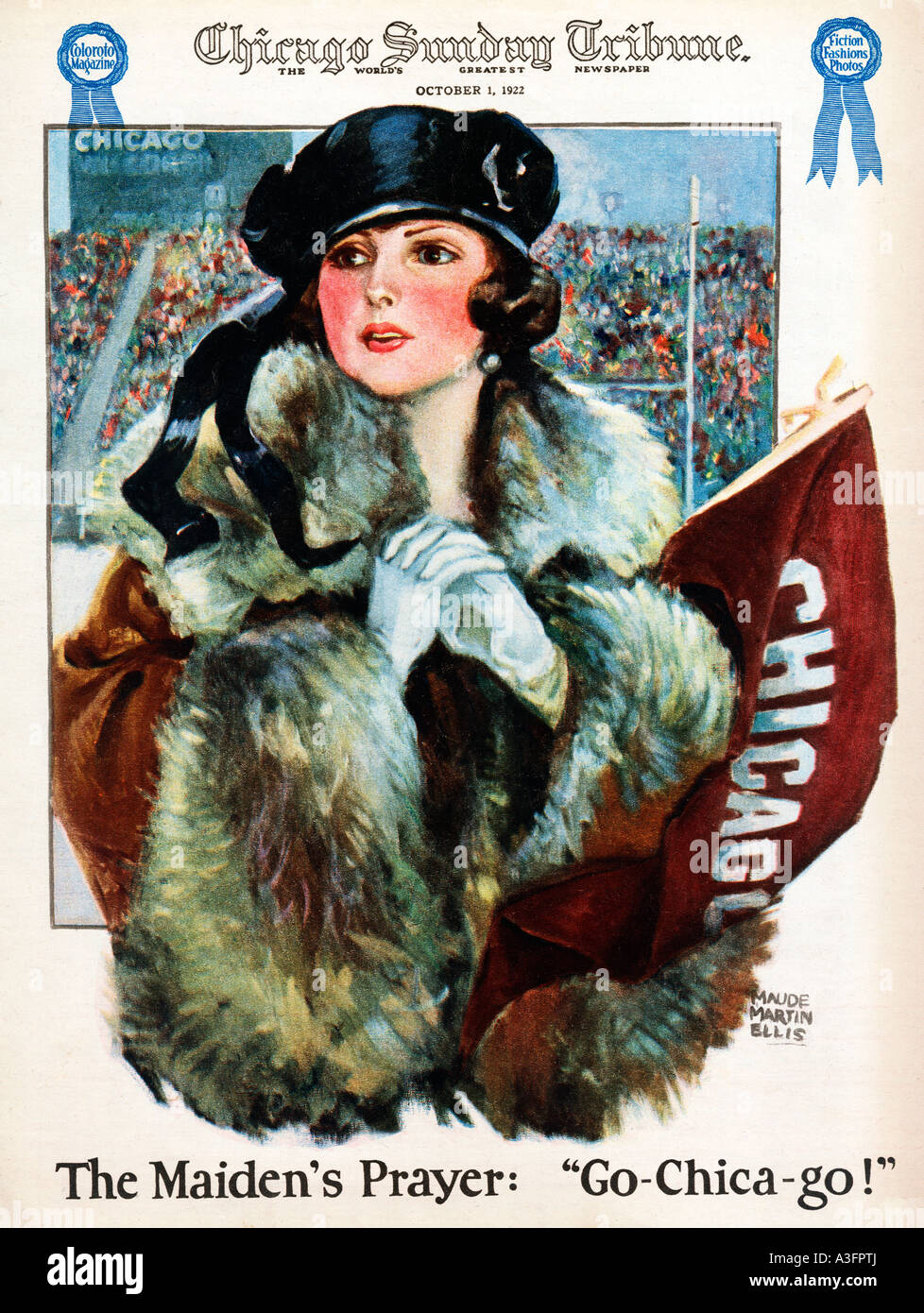 Go Chicago 1922 newspaper illustration of the fair maiden cheering on her football team - Stock Image