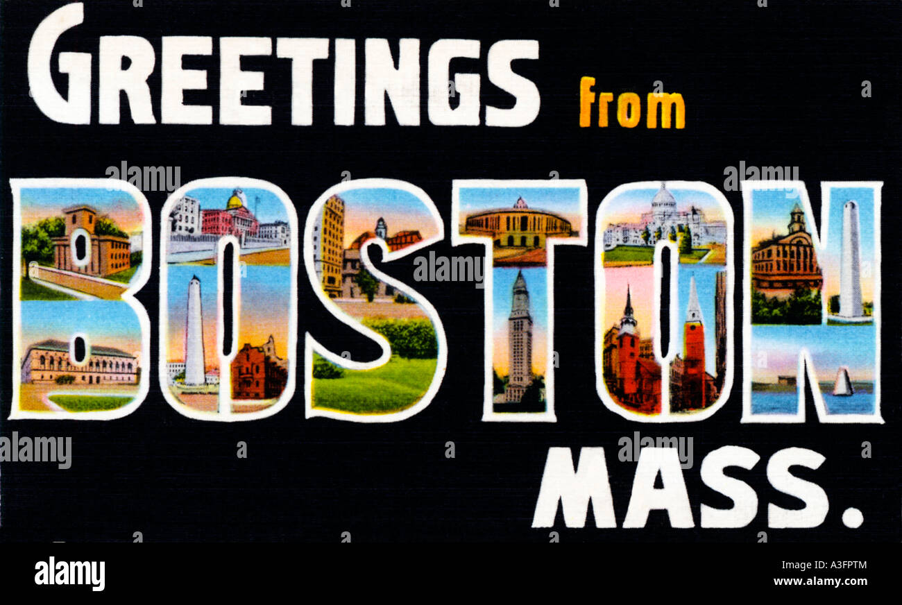 Greetings From Boston 1930s picture postcard saying hello from the capital of Massachusetts - Stock Image