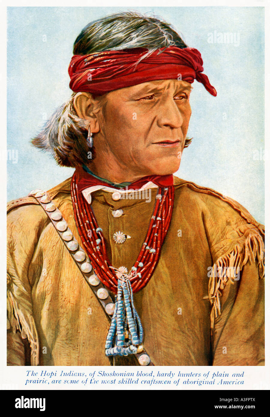 Hopi Indian 1920s colored photo of a Native American Hardy Hunter of Plain and Prairie - Stock Image