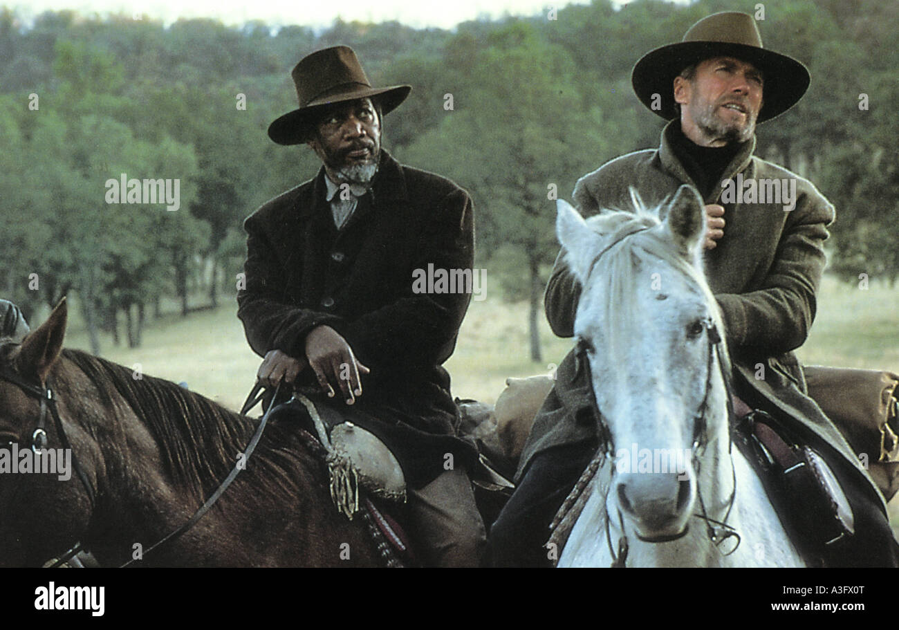 UNFORGIVEN  1992 Warner film with Clint Eastwood and Morgan Freeman - Stock Image