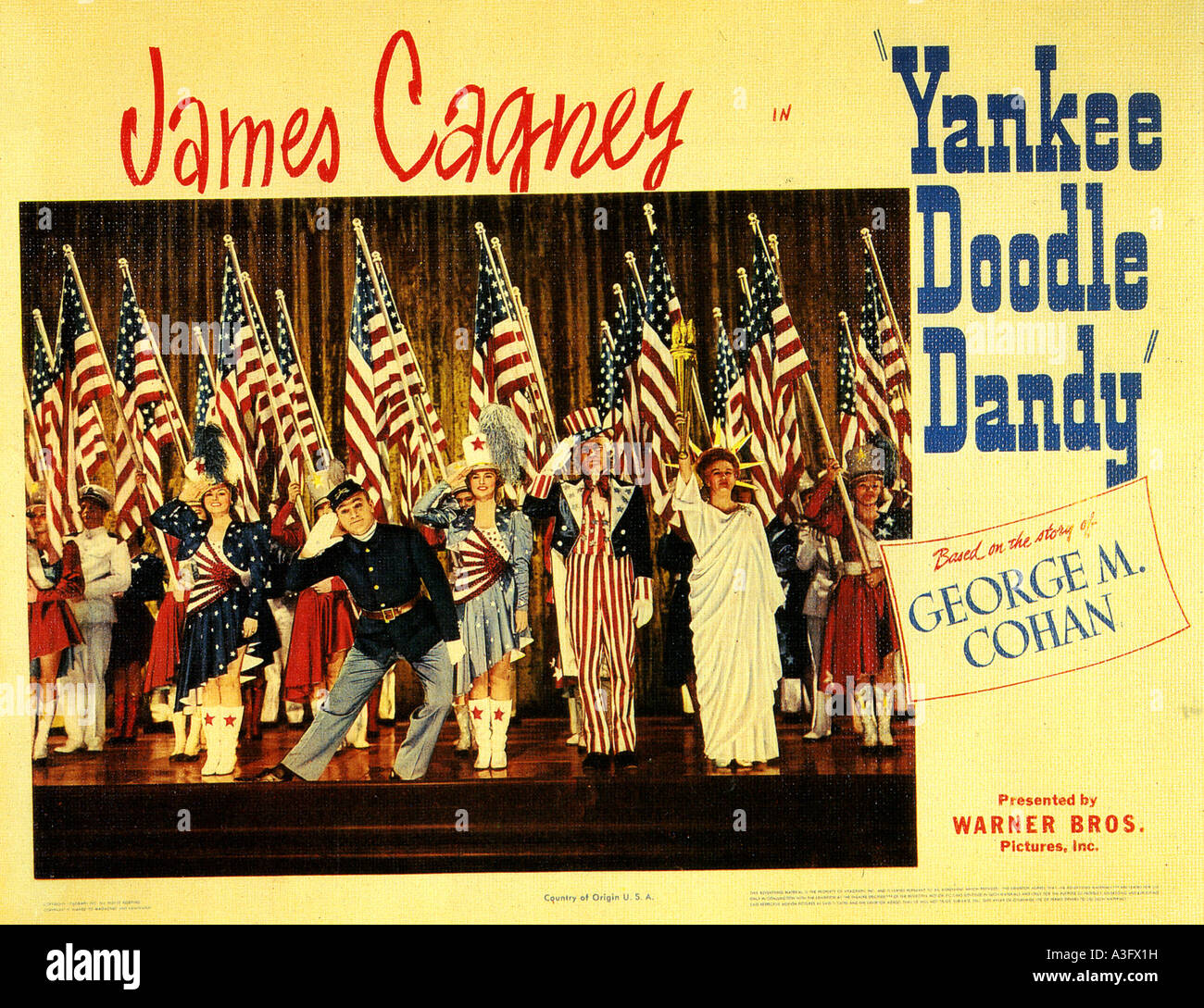 YANKEE DOODLE DANDY 1942 Warner film biopic with James Cagney as the real life George M Cohan - Stock Image