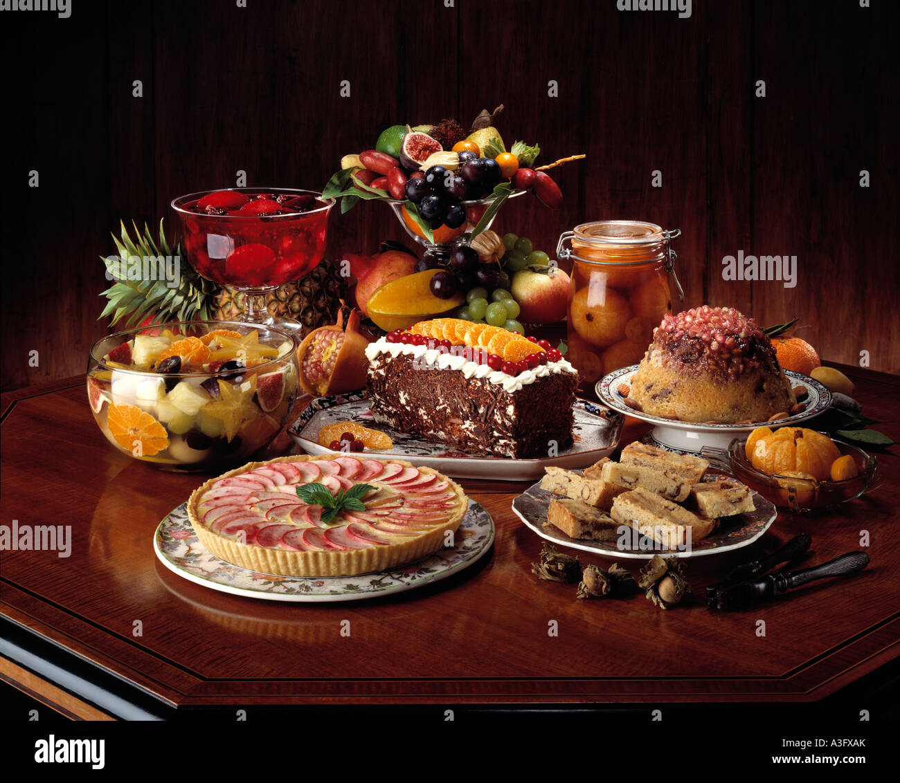Table Full Of Desserts Tart And Fruits Editorial Food