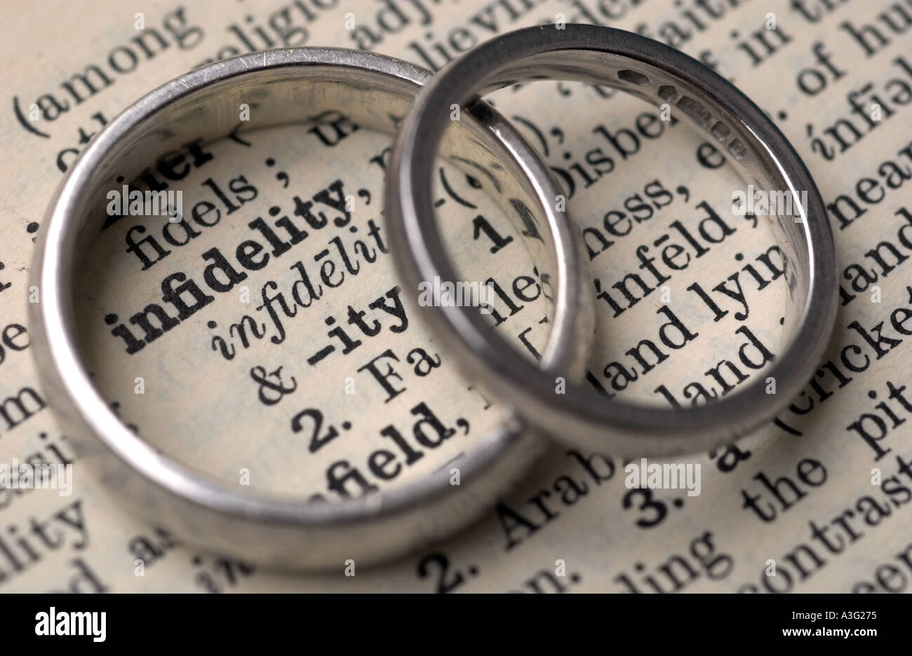 Wedding rings on a dictionary showing the word infidelity - Stock Image