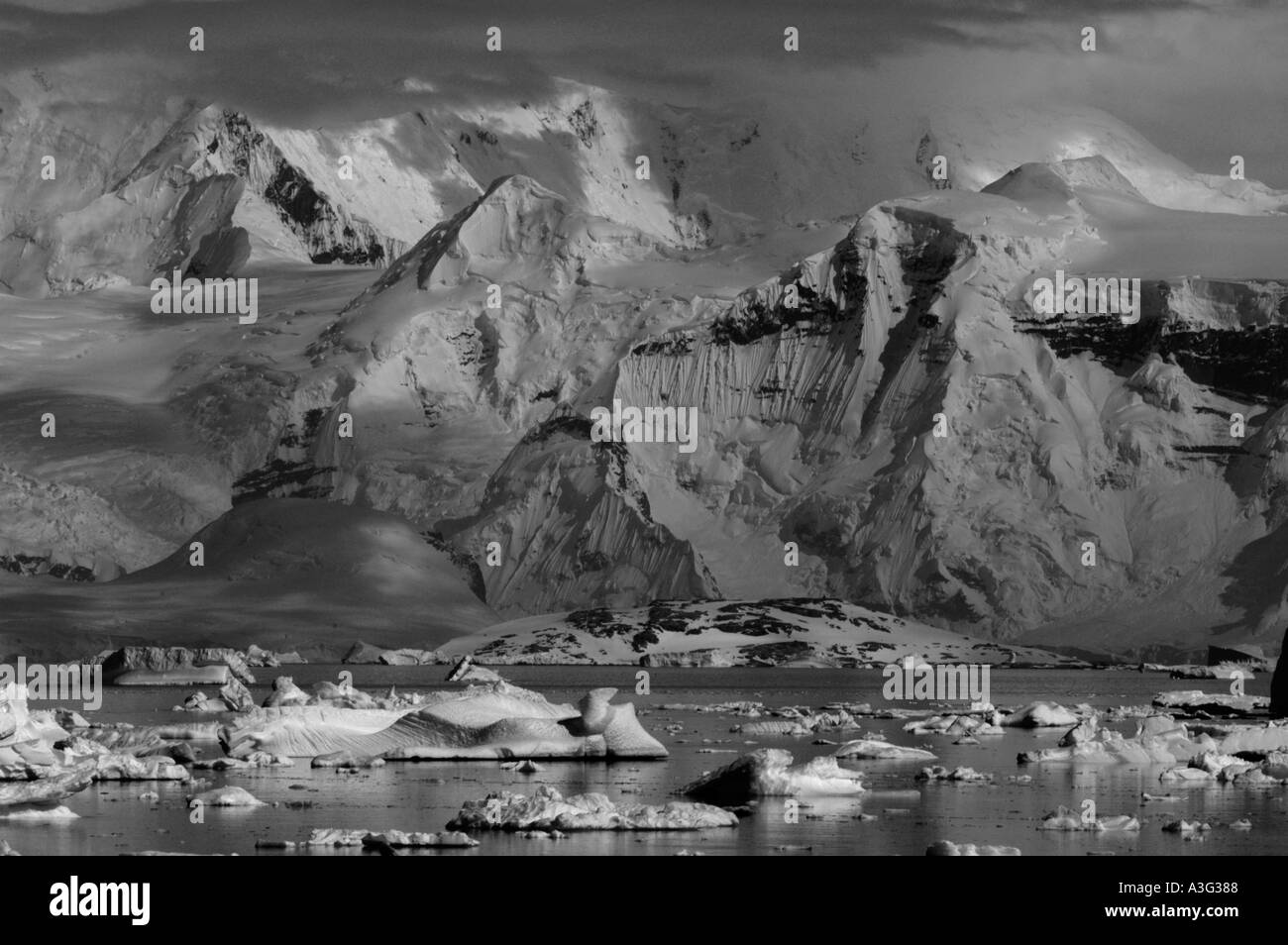 Ice age landscape, Antarctic Peninsula, Antarctica, Black and white - Stock Image