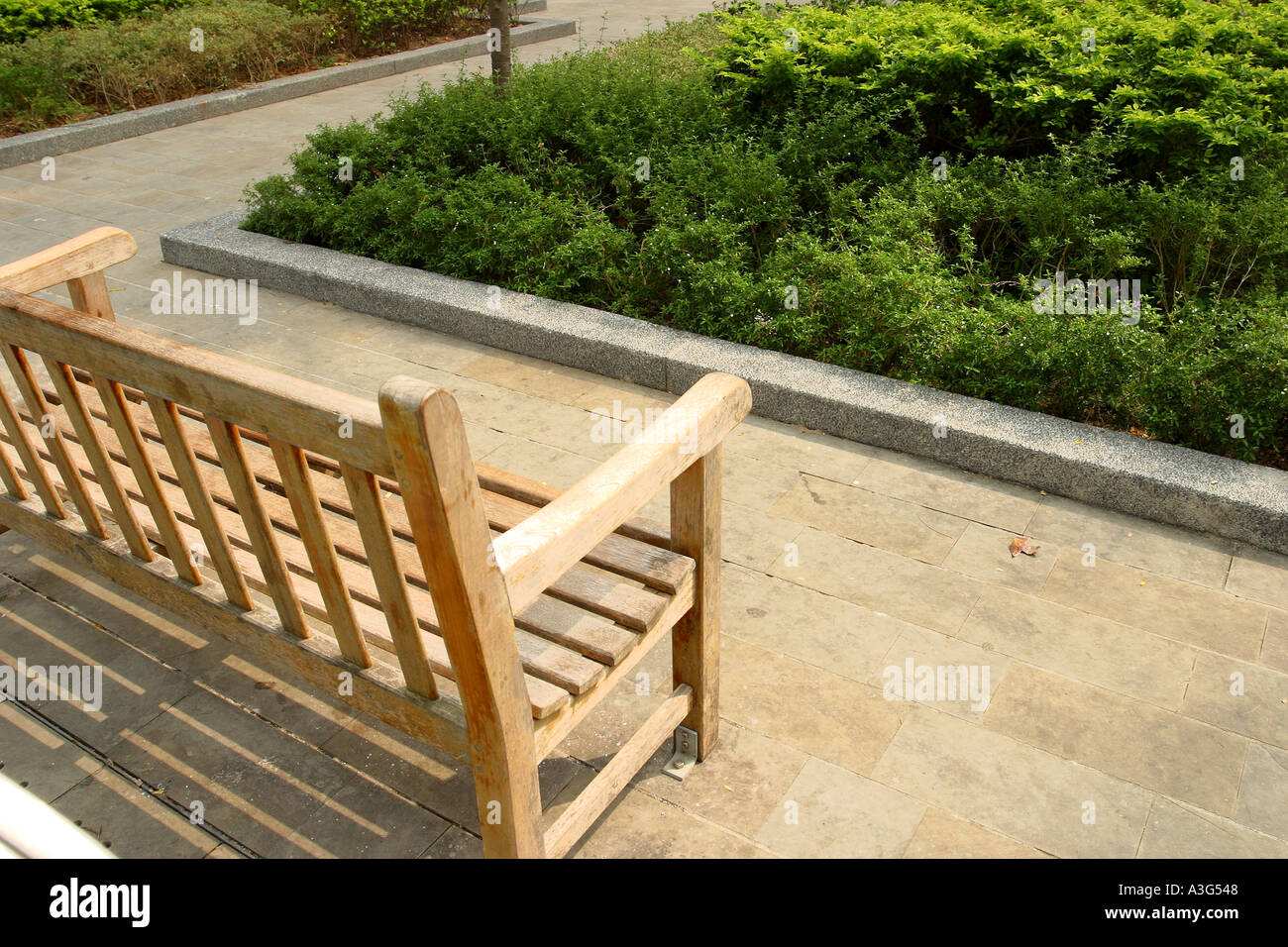 Wood Chair Garden Old Clean Andscape Peaceful Placid Stock Photo