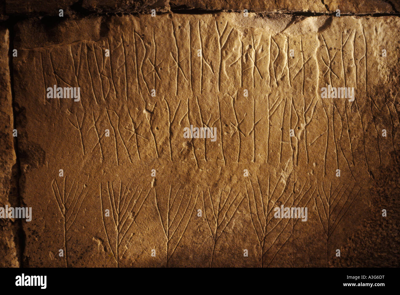 Runes inside the Maes Howe Burial chamber.Viking graffiti  Nr Stromnes, Orkney, Scotland HOMER SYKES - Stock Image