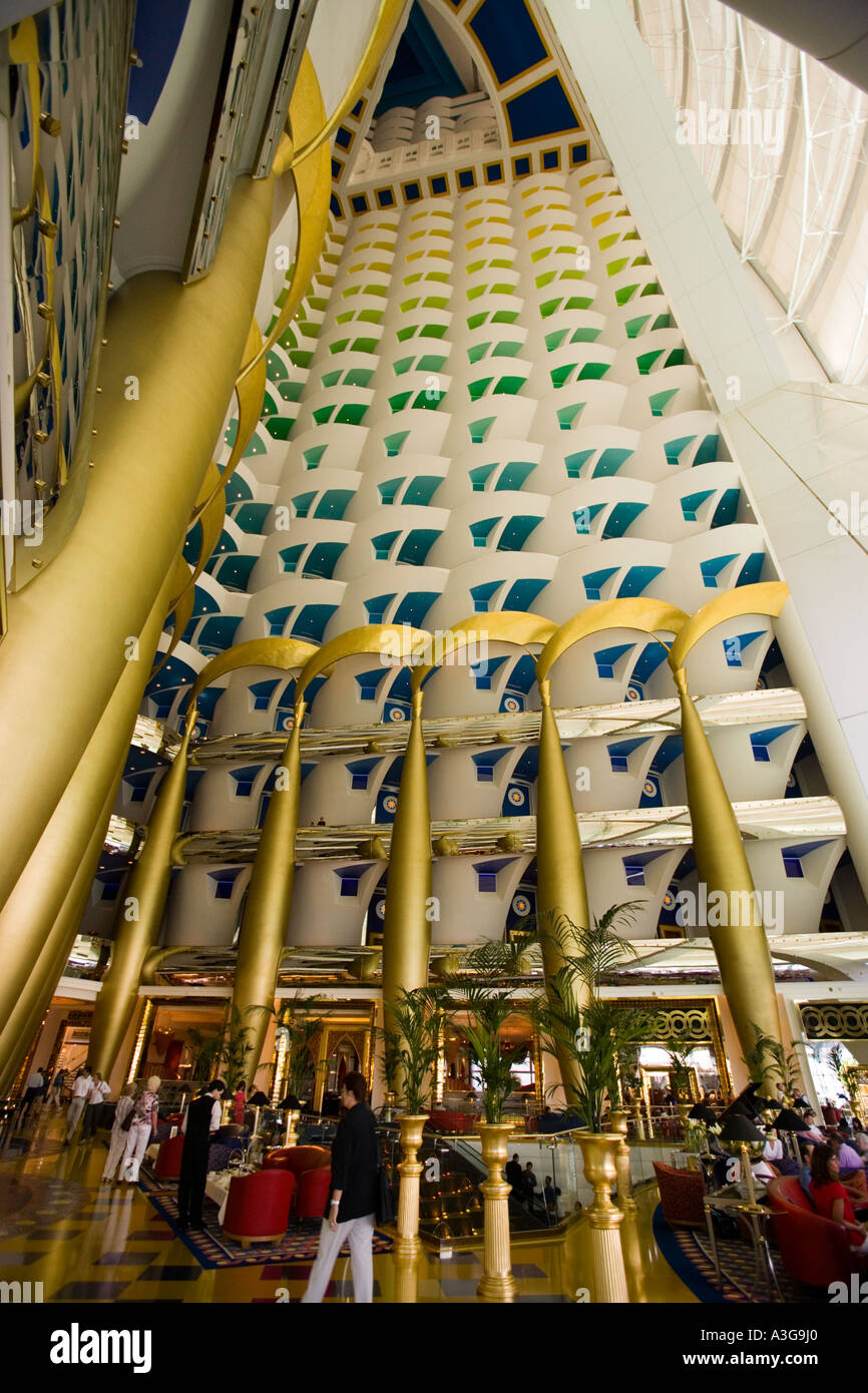 Burj al arab hotel dubai uae interior view from first floor to the roof